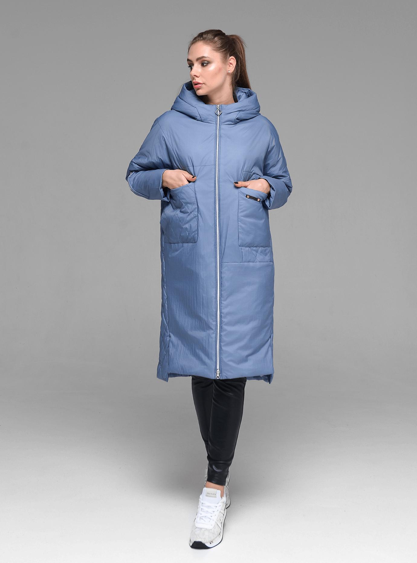 Пальто женское демисезонное стеганое Тёмно голубой M (02-D190102): фото - Alster.ua