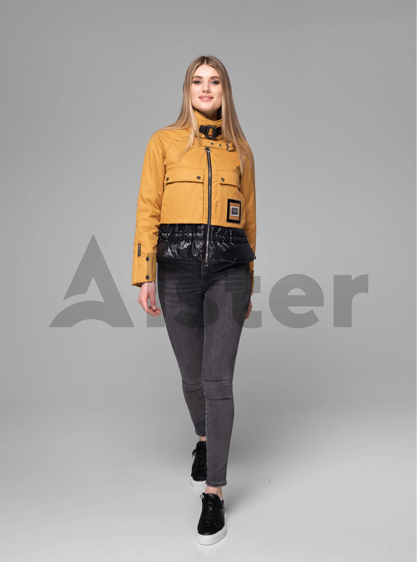 Куртка женская короткая с ремешком Тёмно-жёлтый S (02-V191014): фото - Alster.ua