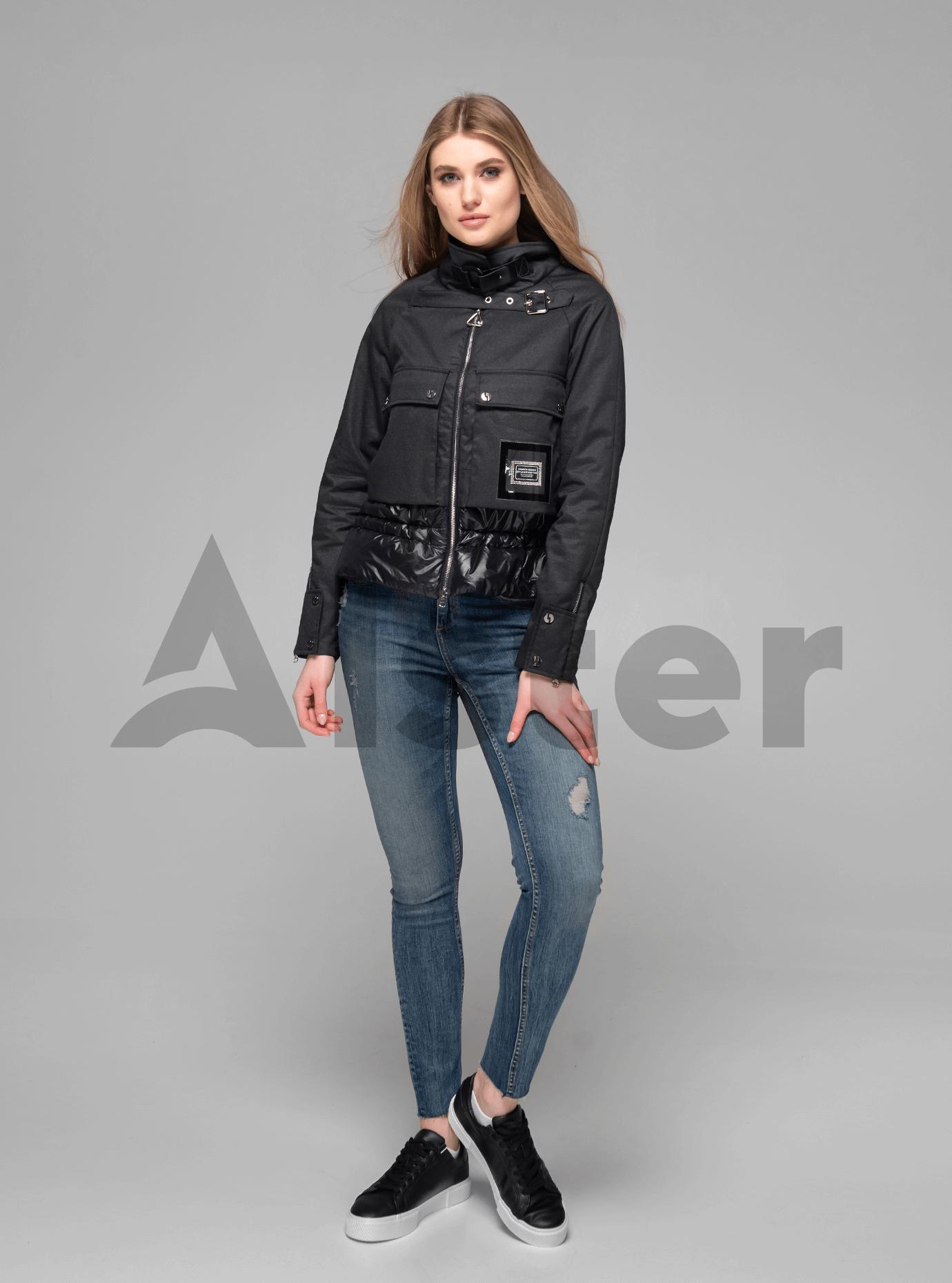 Куртка женская короткая с ремешком Чёрный L (02-V191004): фото - Alster.ua