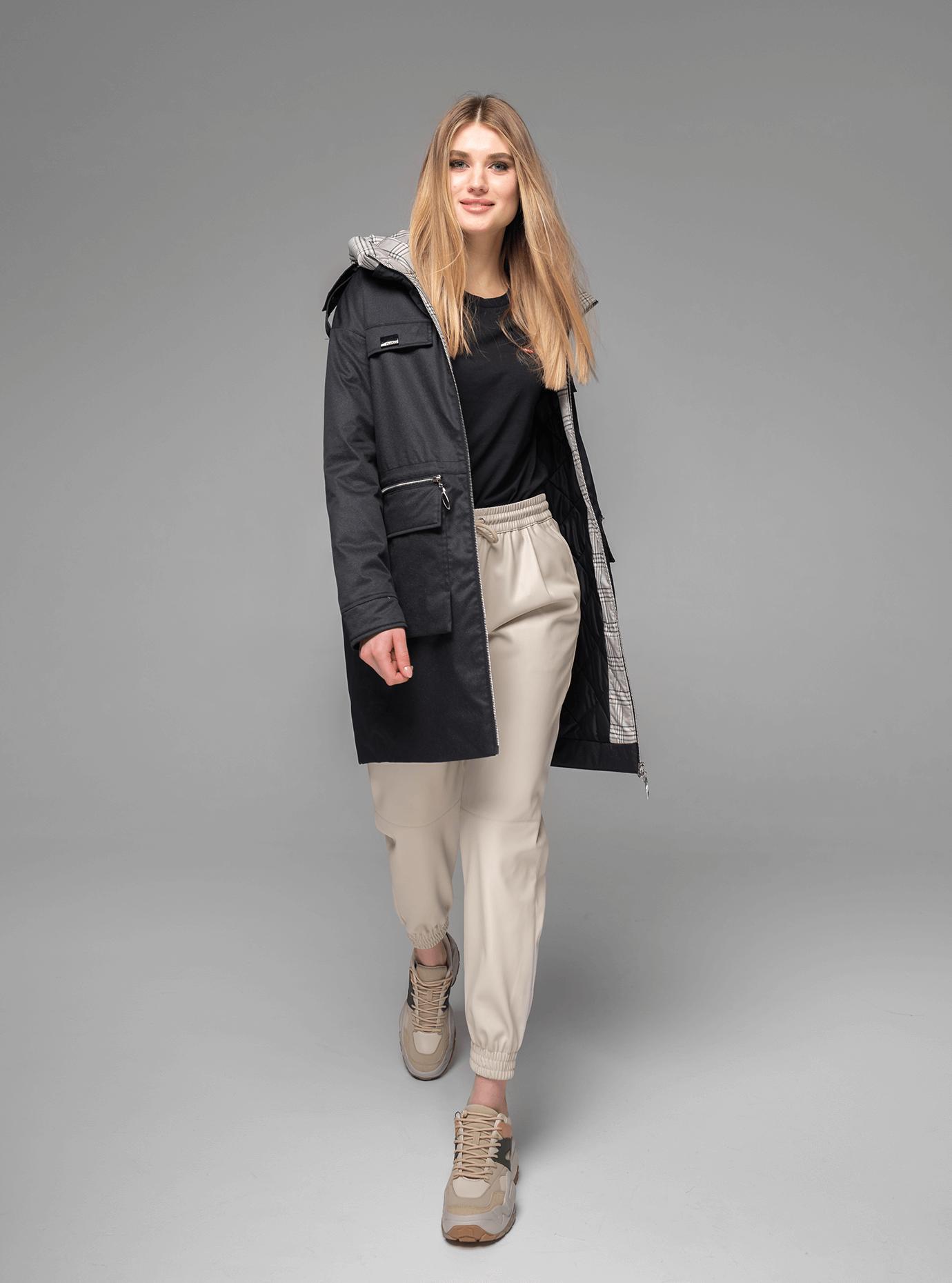 Куртка демисезонная женская средней длины Чёрный M (02-V191027): фото - Alster.ua