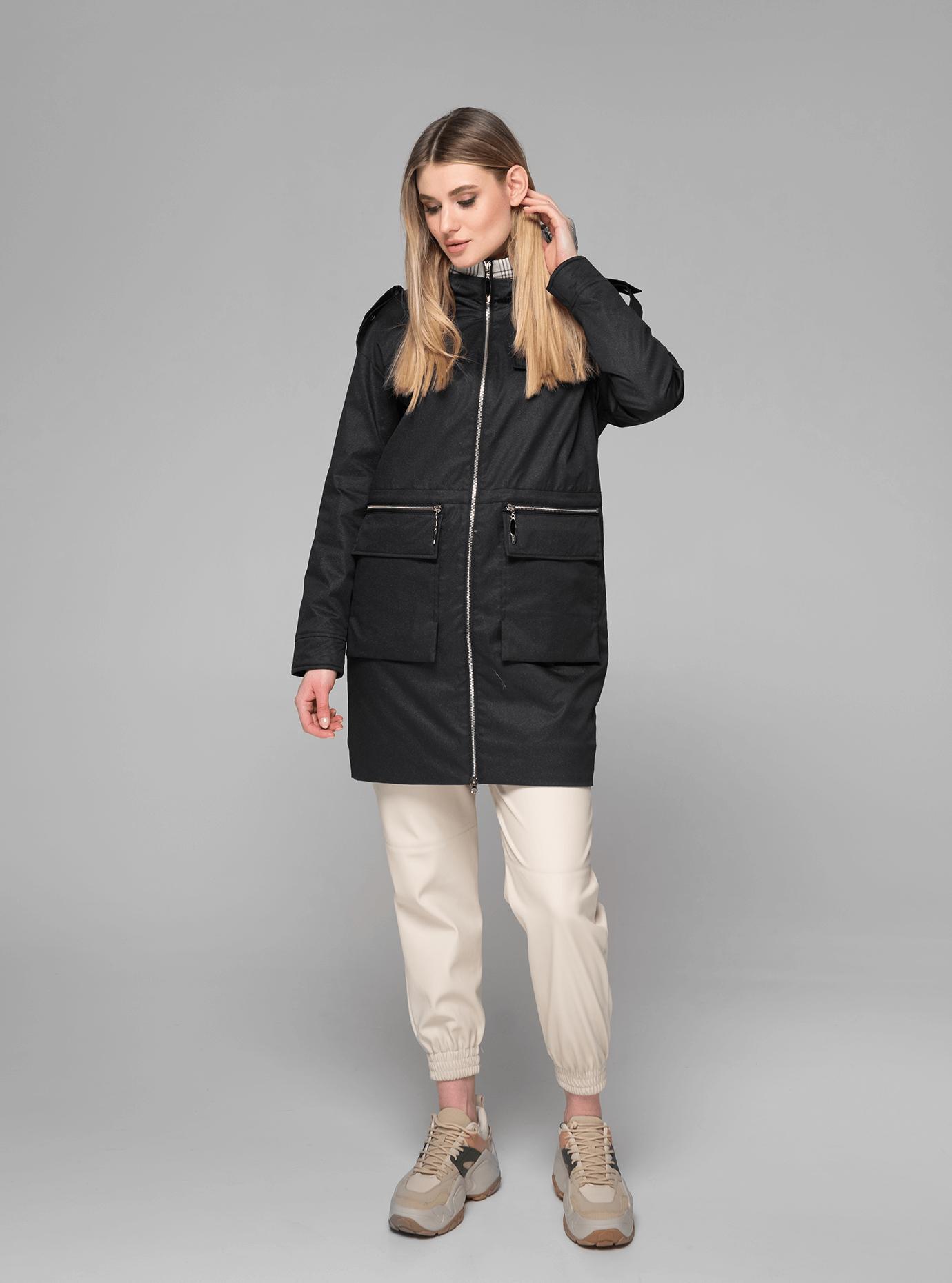 Куртка демисезонная женская средней длины Чёрный XL (02-V191029): фото - Alster.ua