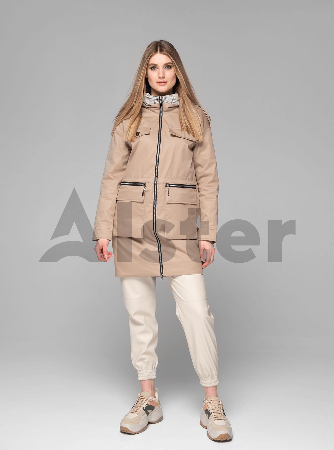 Куртка демисезонная женская средней длины Бежевый XL (02-V191033): фото - Alster.ua