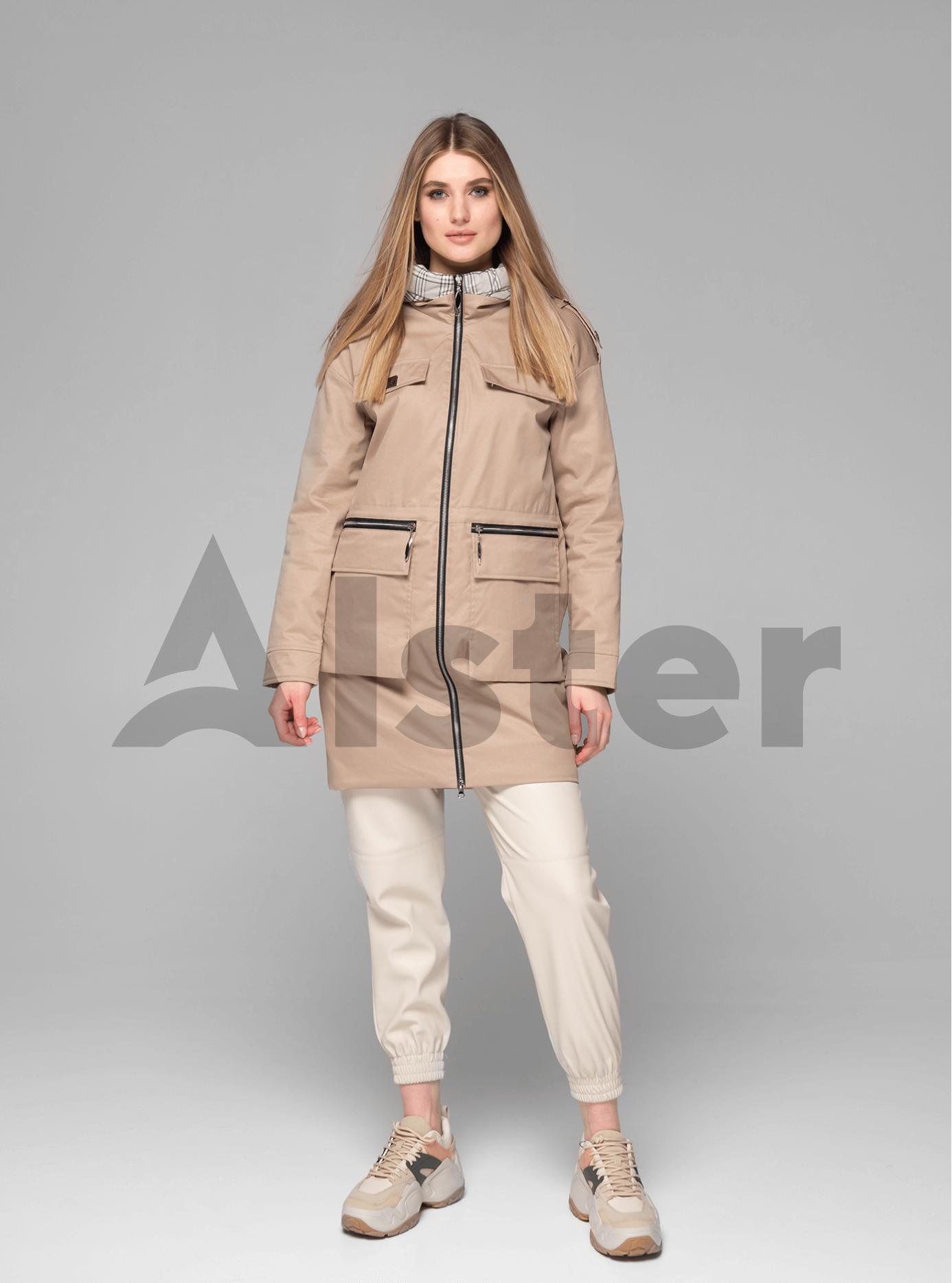Куртка демисезонная женская средней длины Бежевый M (02-V191031): фото - Alster.ua