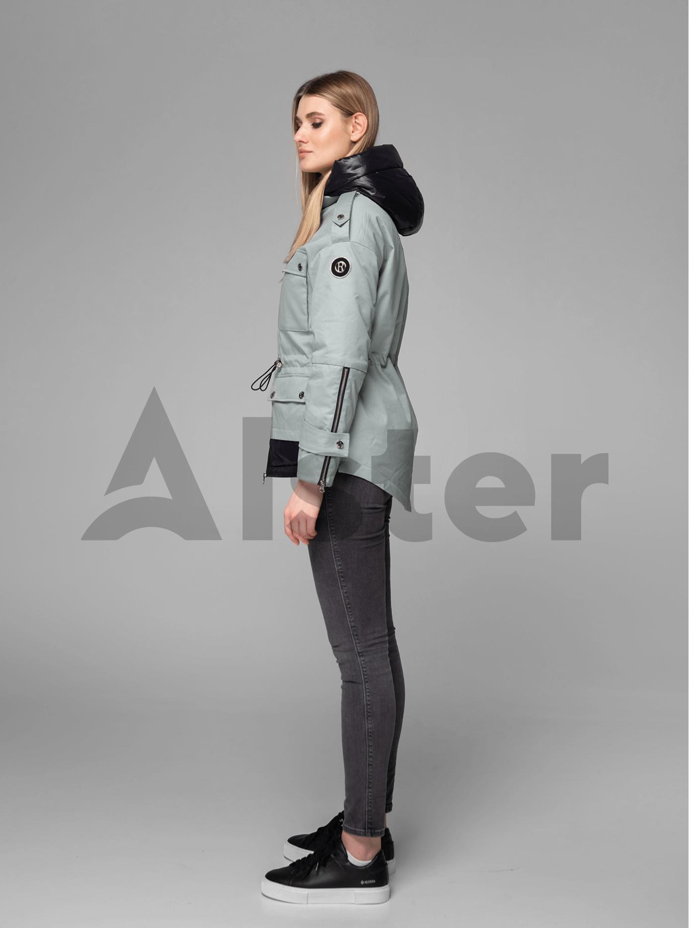 Куртка демисезонная короткая с капюшоном Серо-зелёный S (02-V191046): фото - Alster.ua