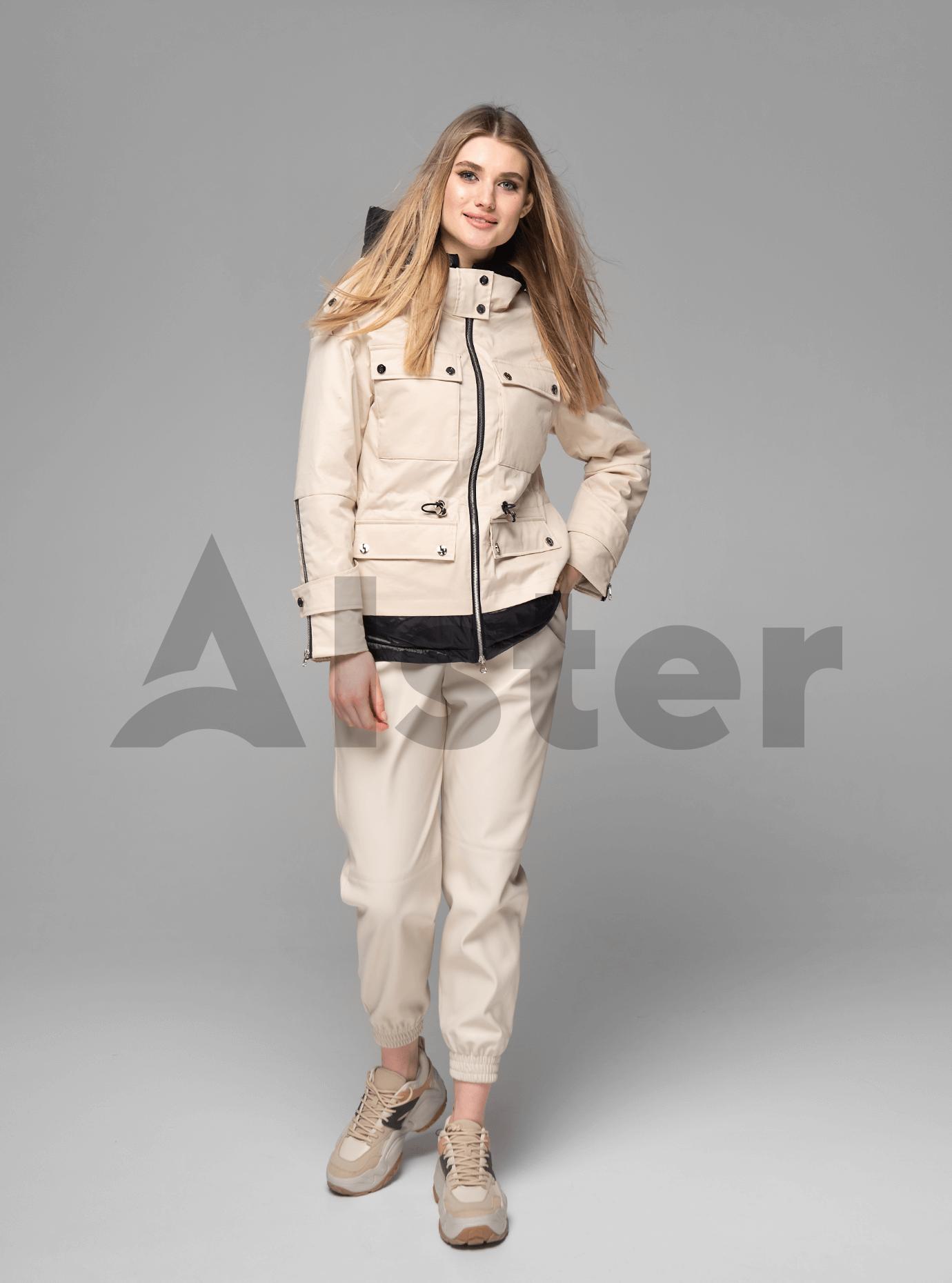 Куртка демисезонная короткая с капюшоном Бежевый S (02-V191038): фото - Alster.ua