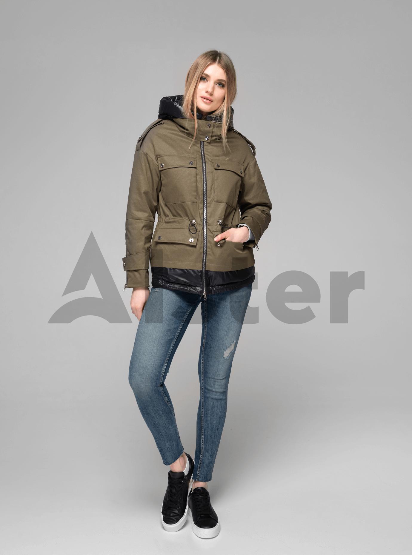 Куртка демисезонная короткая с капюшоном Хаки XL (02-V191045): фото - Alster.ua