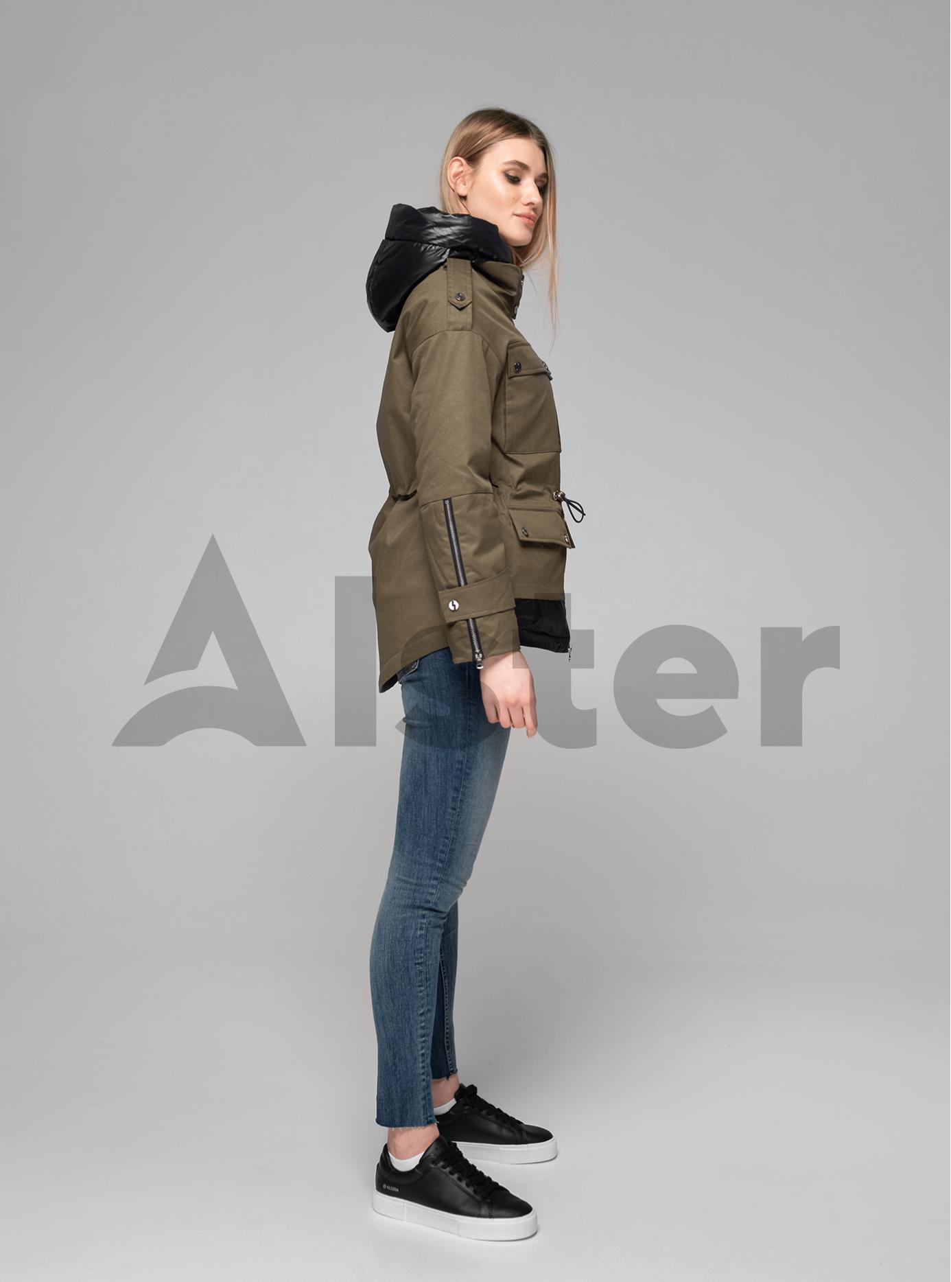 Куртка демисезонная короткая с капюшоном Хаки M (02-V191043): фото - Alster.ua