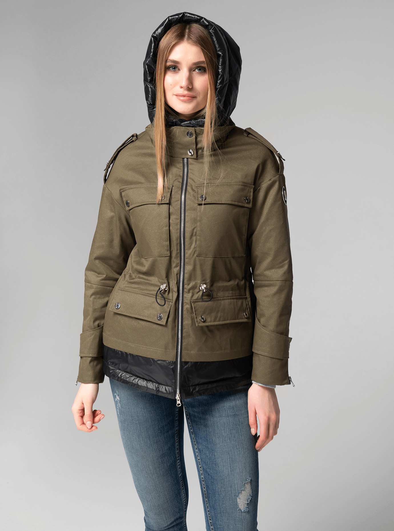 Куртка демисезонная короткая с капюшоном Хаки L (02-V191044): фото - Alster.ua