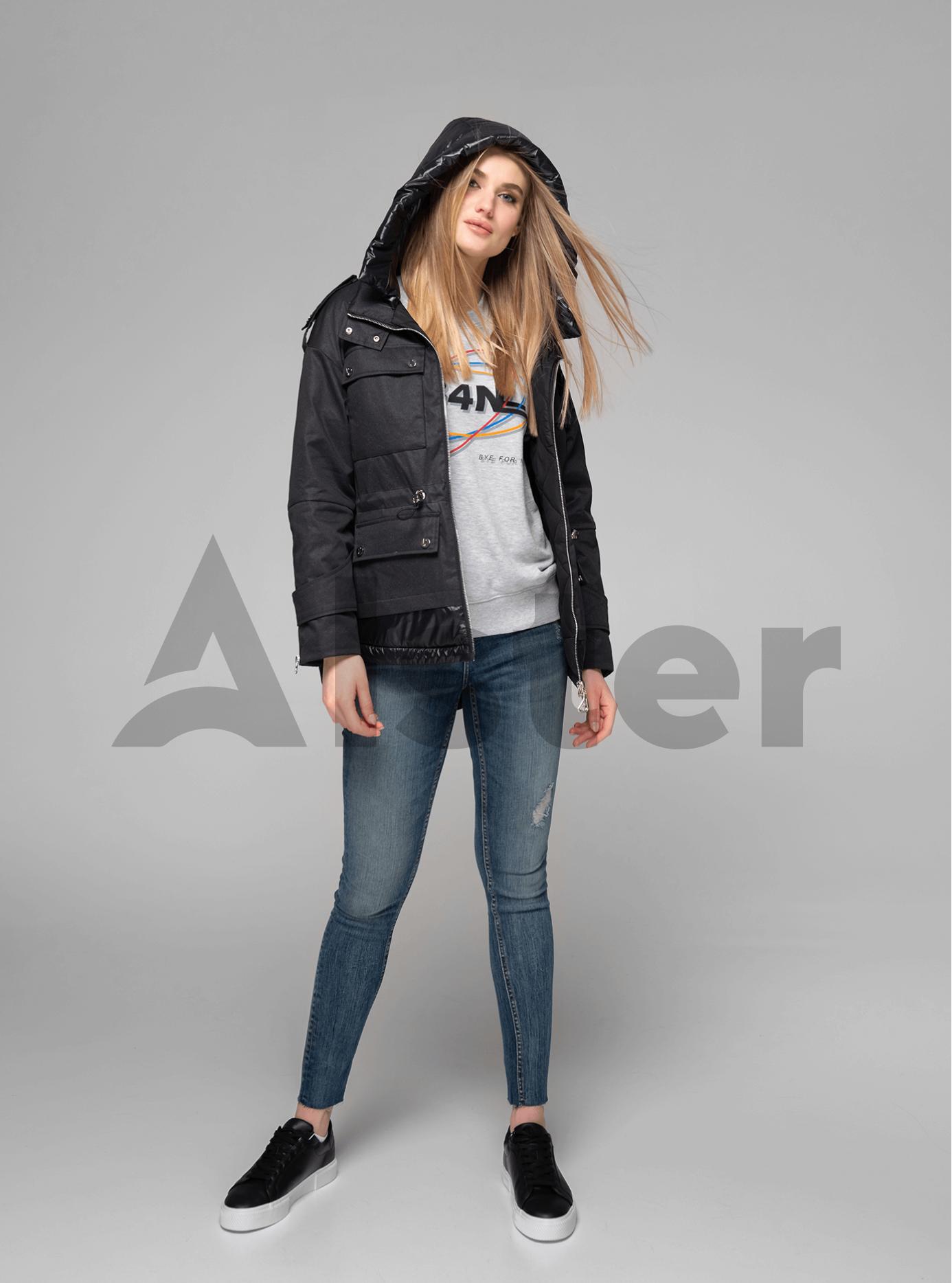 Куртка демисезонная короткая с капюшоном Чёрный S (02-V191034): фото - Alster.ua