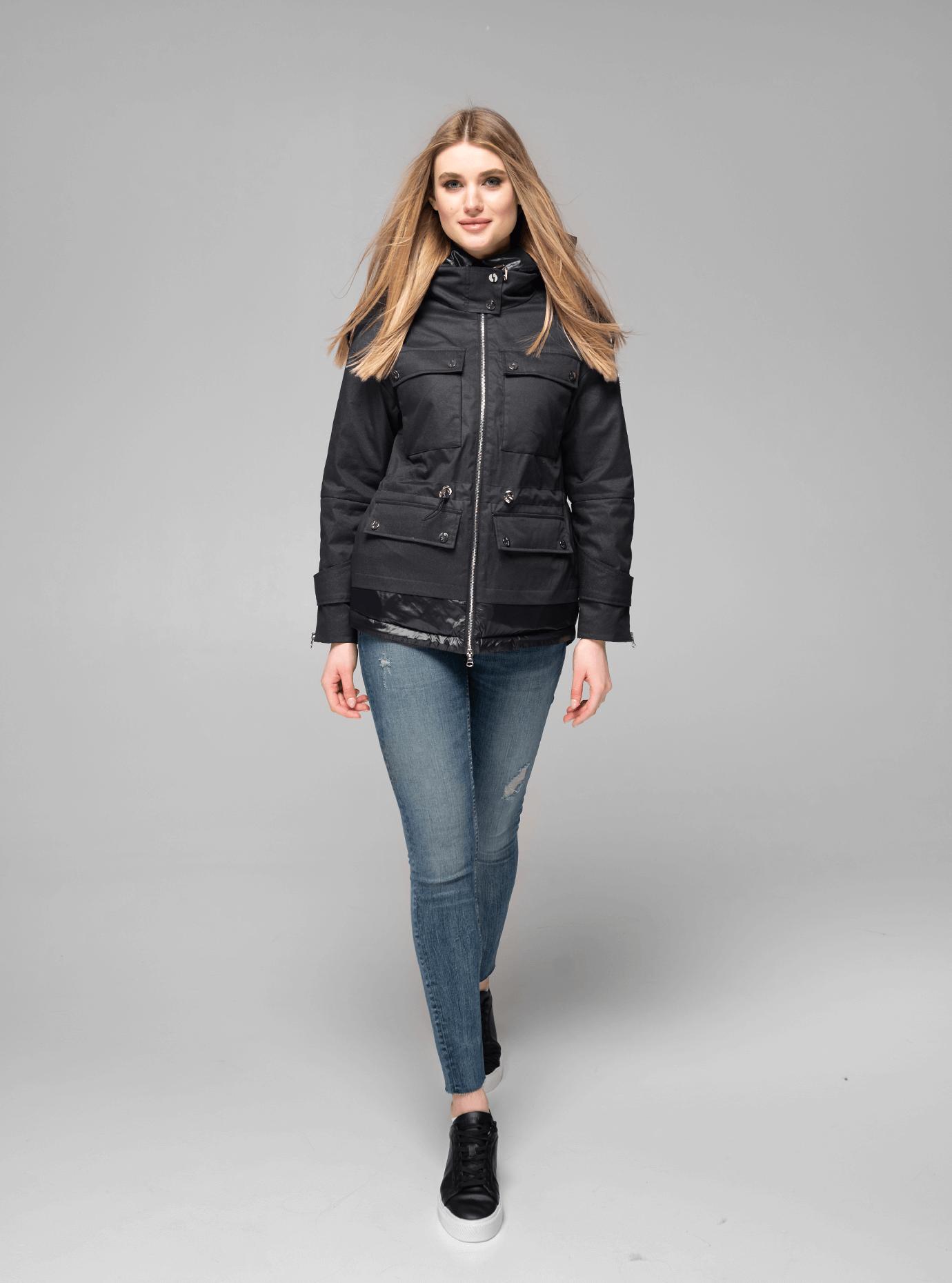 Куртка демисезонная короткая с капюшоном Чёрный M (02-V191035): фото - Alster.ua