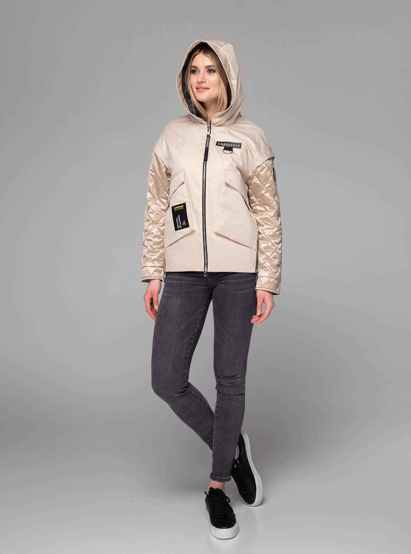 Куртка демисезонная короткая на молнии Бежевый M (02-V191051): фото - Alster.ua