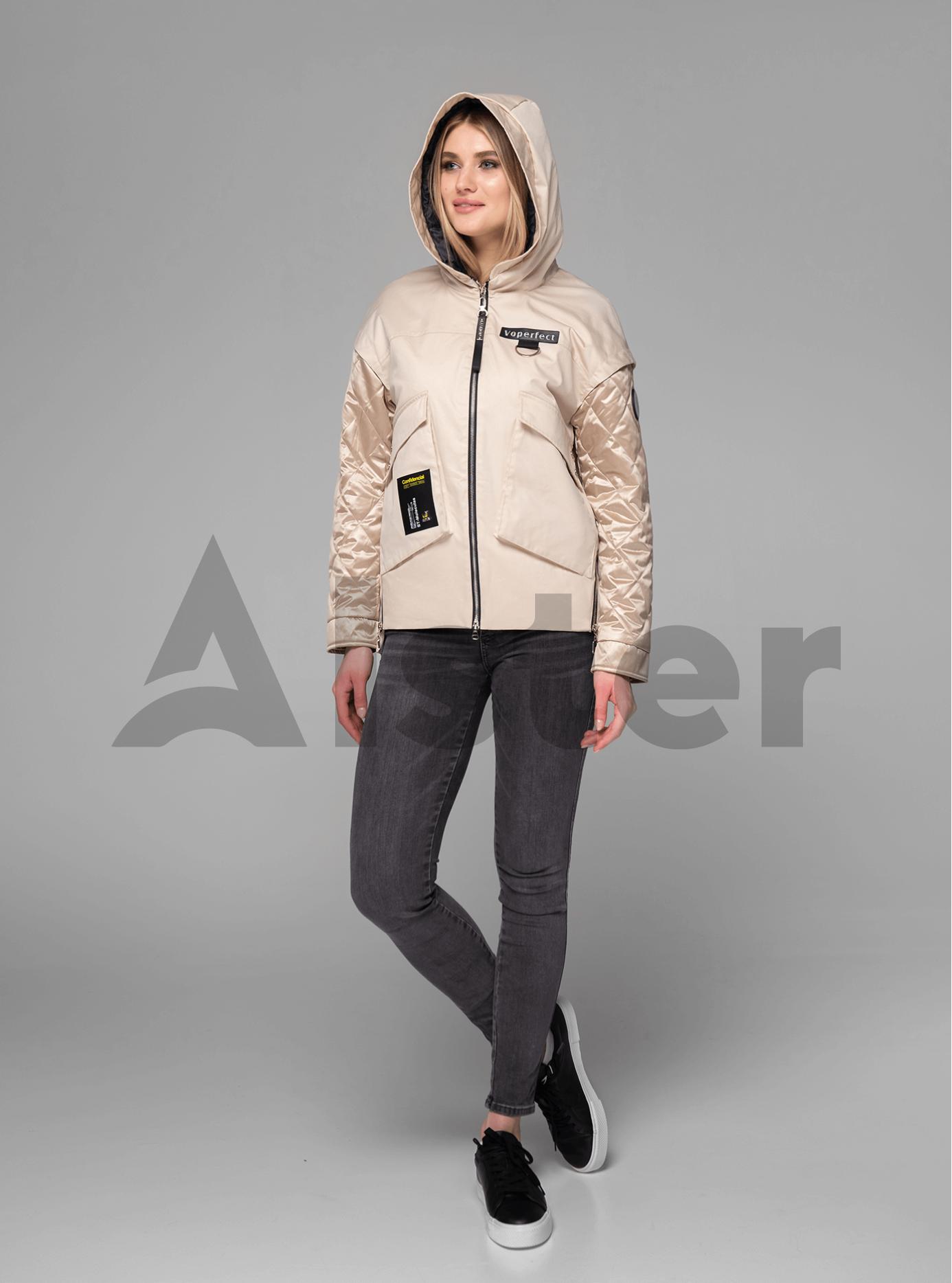 Куртка демисезонная короткая на молнии Бежевый XL (02-V191053): фото - Alster.ua