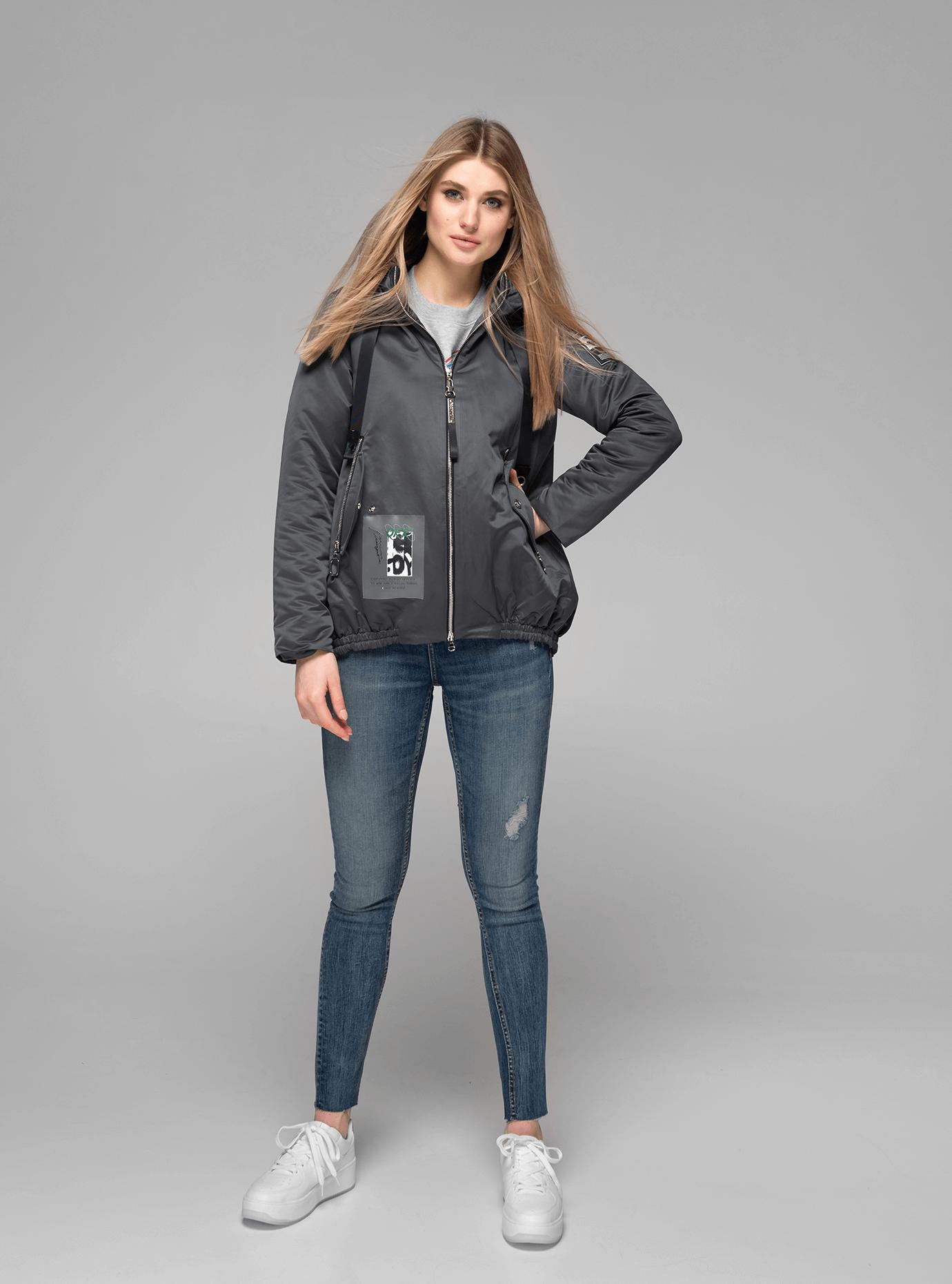Куртка демисезонная короткая с разрезом на спине Тёмно-серый XL (02-V191081): фото - Alster.ua