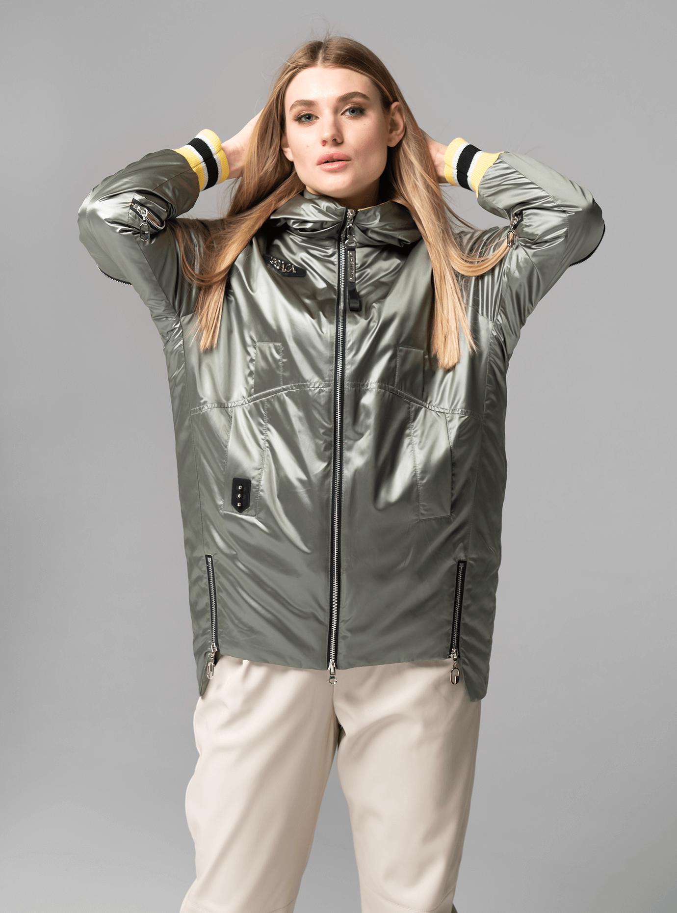 Куртка демисезонная средней длины с манжетами Оливковый M (02-V191087): фото - Alster.ua