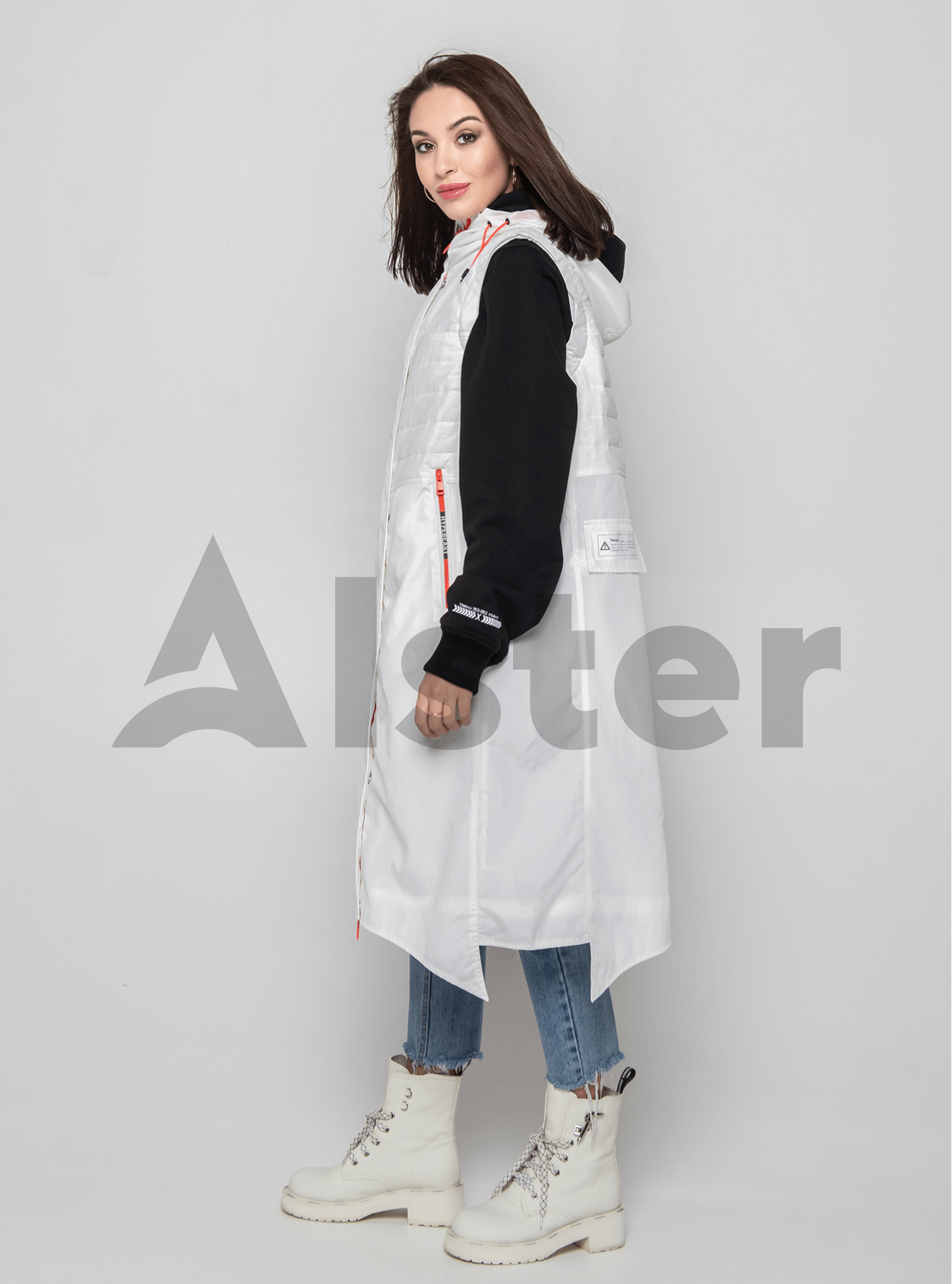 Жилет демисезонный длинный Белый L (02-Y191007): фото - Alster.ua