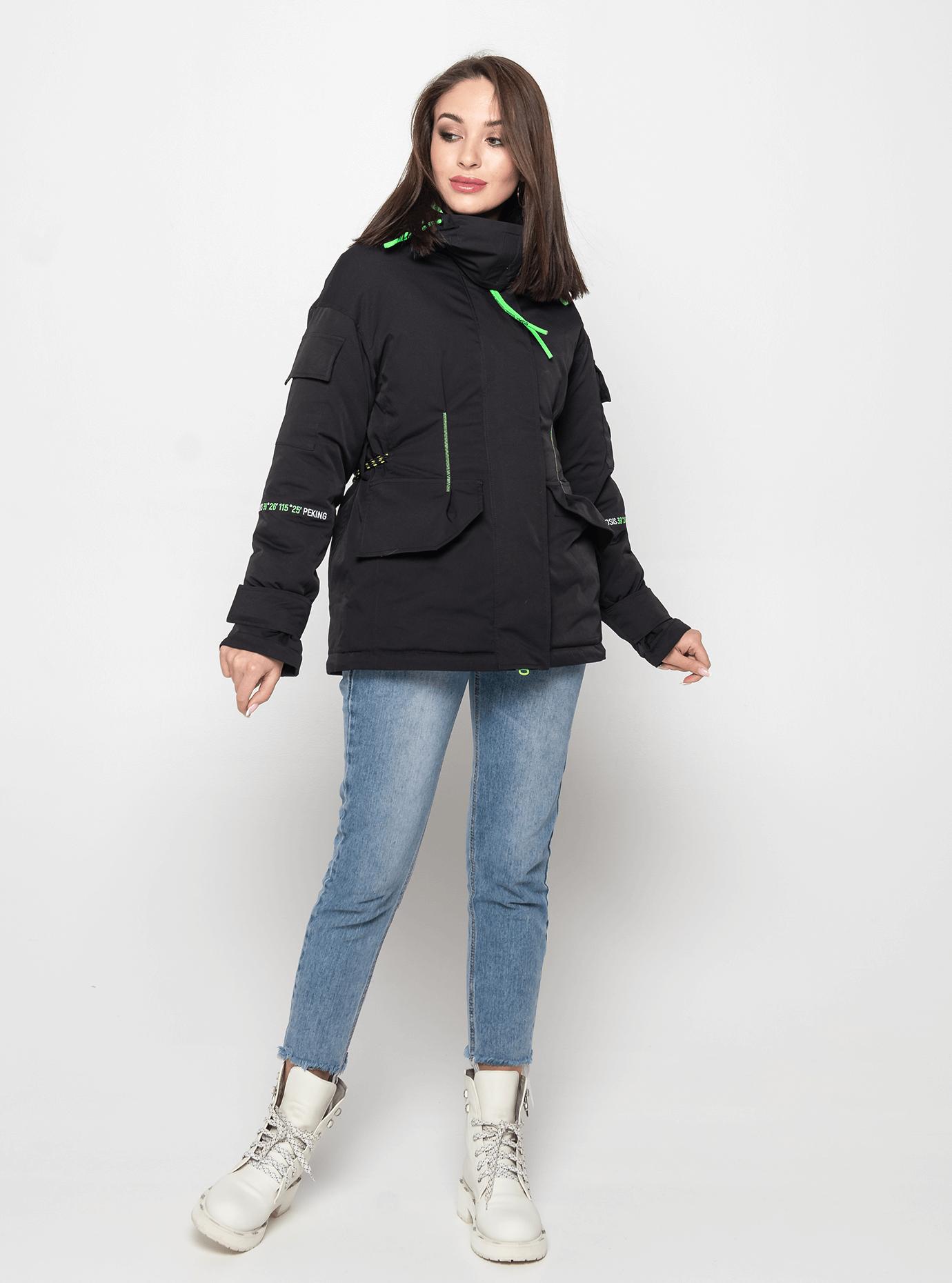 Куртка демисезонная с высоким воротником Чёрный M (02-Y191024): фото - Alster.ua