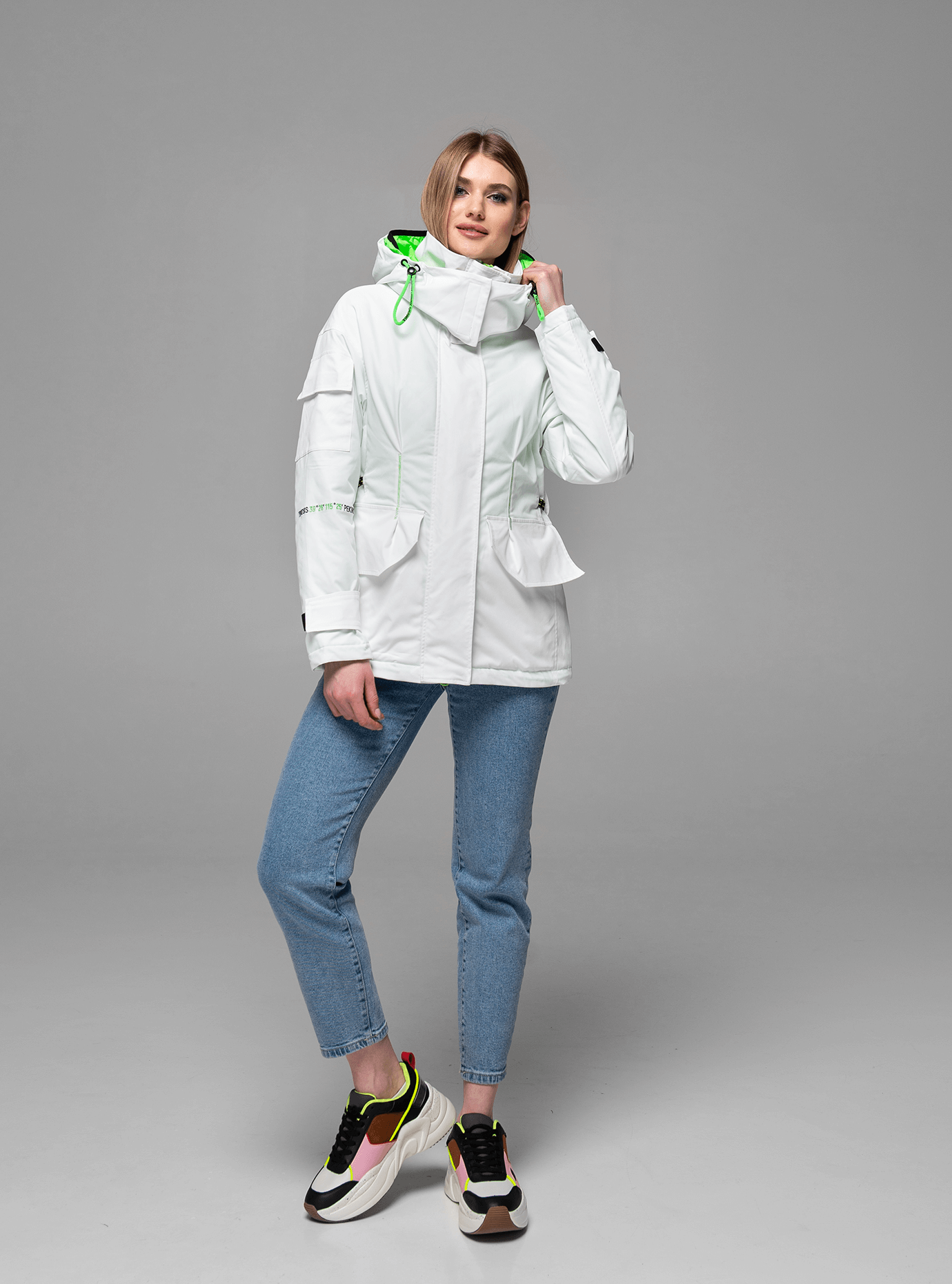 Куртка демисезонная с высоким воротником Белый L (02-Y191022): фото - Alster.ua