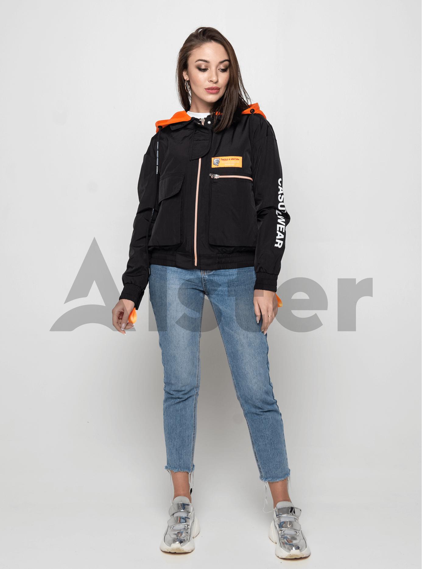Куртка демисезонная с ярким капюшоном Чёрный M (02-Y191033): фото - Alster.ua
