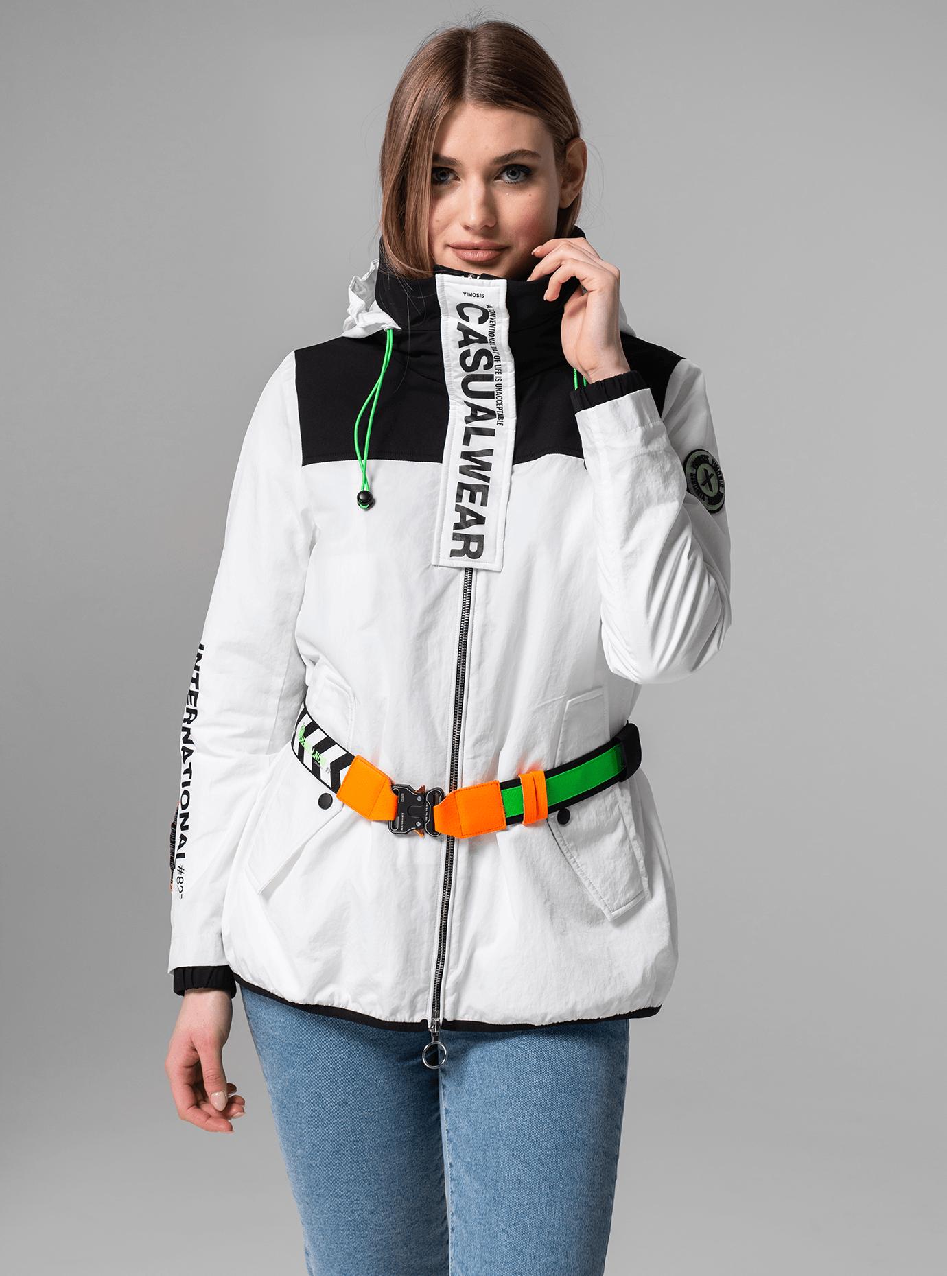 Куртка демисезонная с поясом Белый M (02-Y191039): фото - Alster.ua