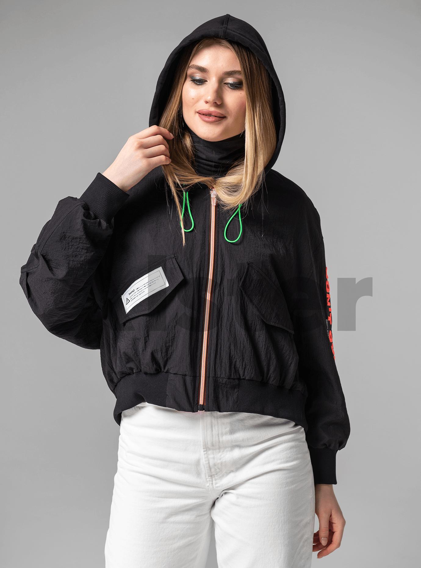 Куртка демисезонная с надписью Чёрный S (02-Y191050): фото - Alster.ua
