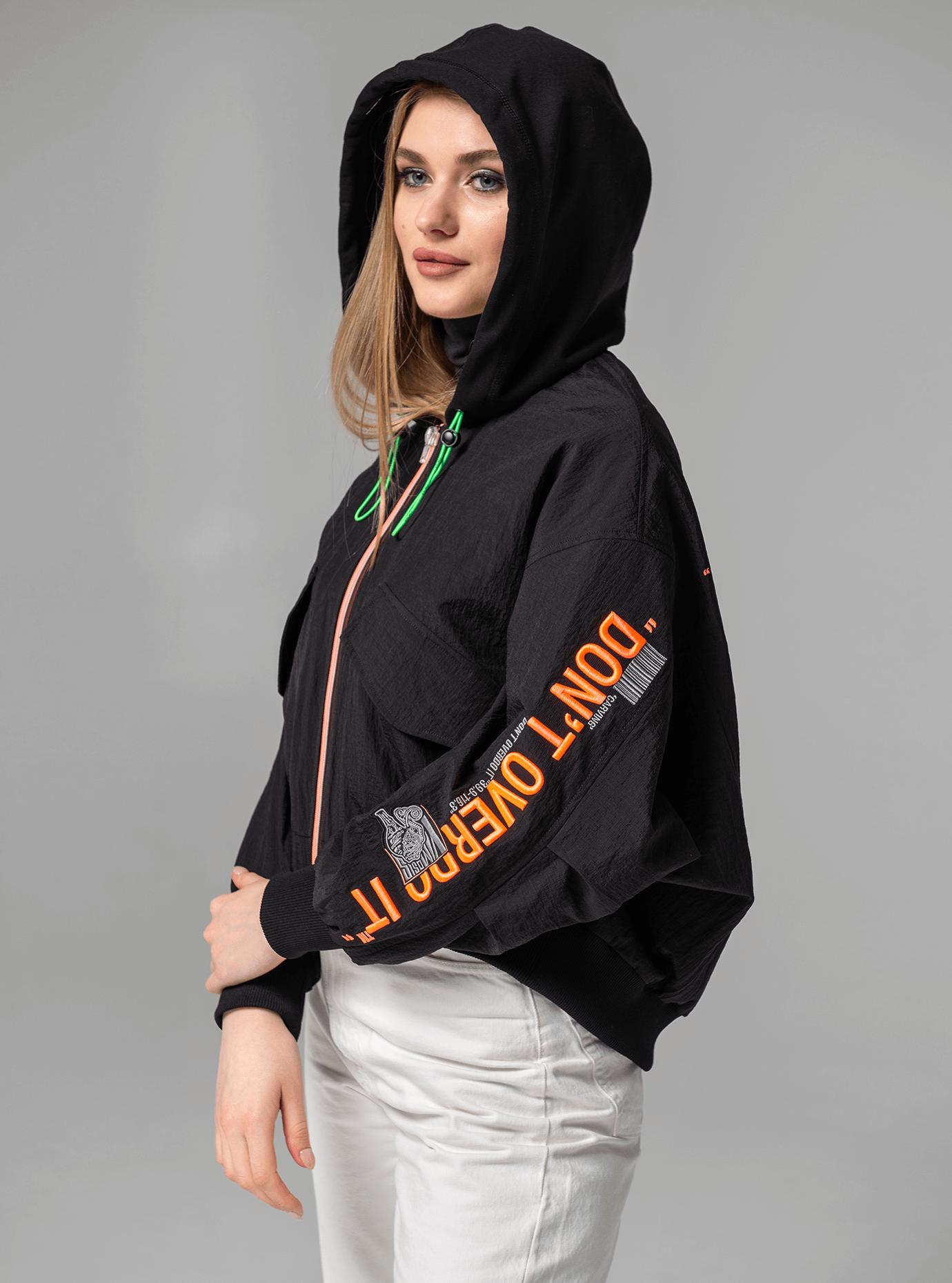 Куртка демисезонная с надписью Чёрный L (02-Y191052): фото - Alster.ua