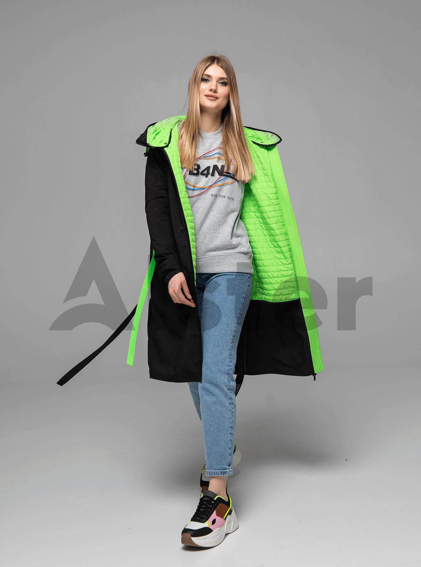 Куртка демисезонная длинная Чёрный S (02-Y191071): фото - Alster.ua