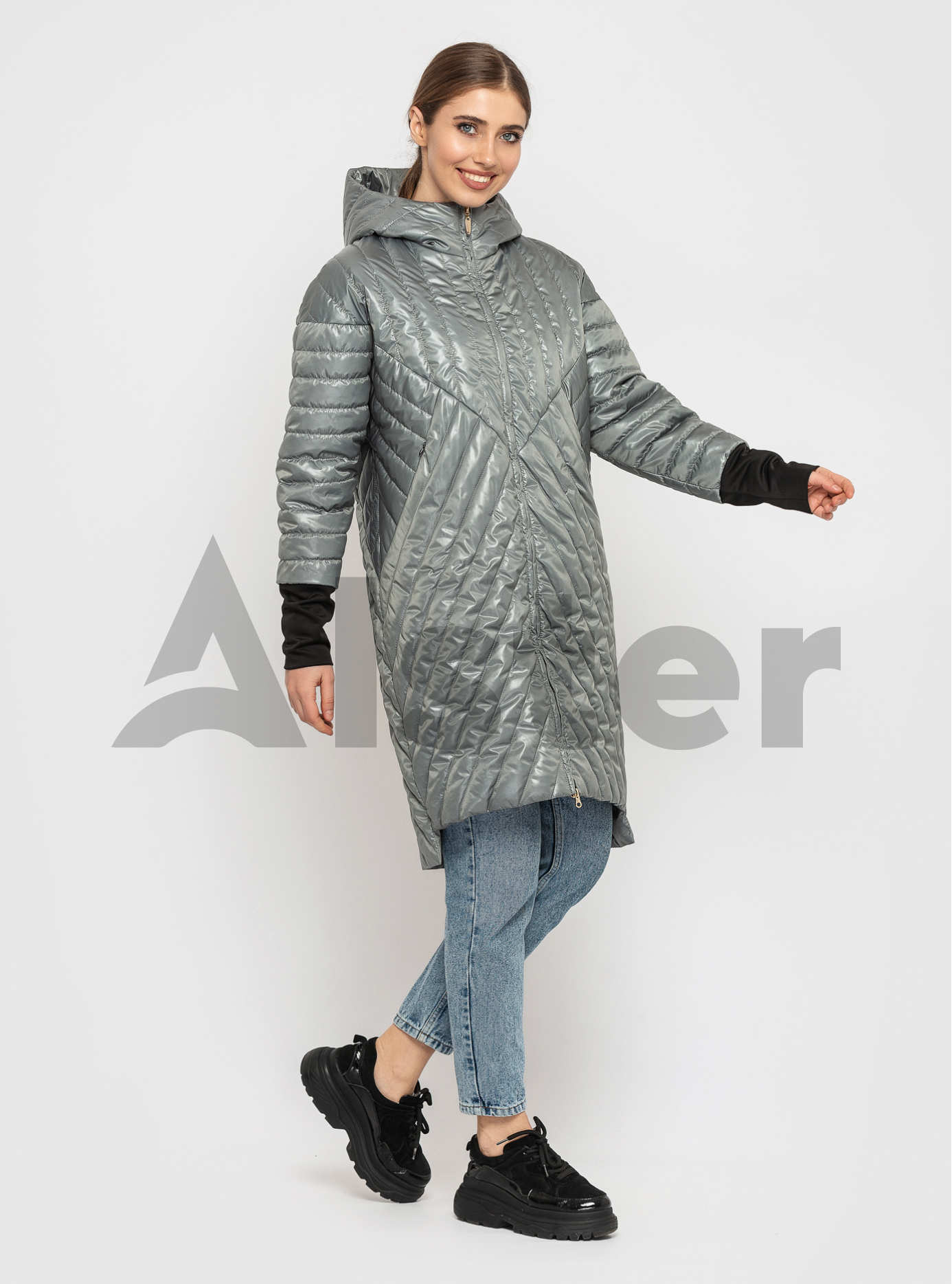 Куртка жіноча демісезонна подовжена Сіро-зелений M (02-KT19002126): фото - Alster.ua