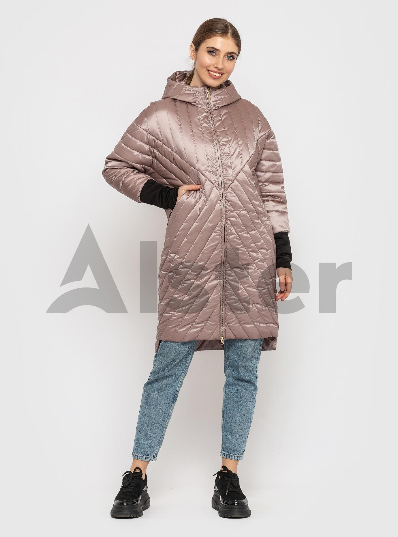 Куртка жіноча демісезонна подовжена Пудровий L (02-KT19002132): фото - Alster.ua