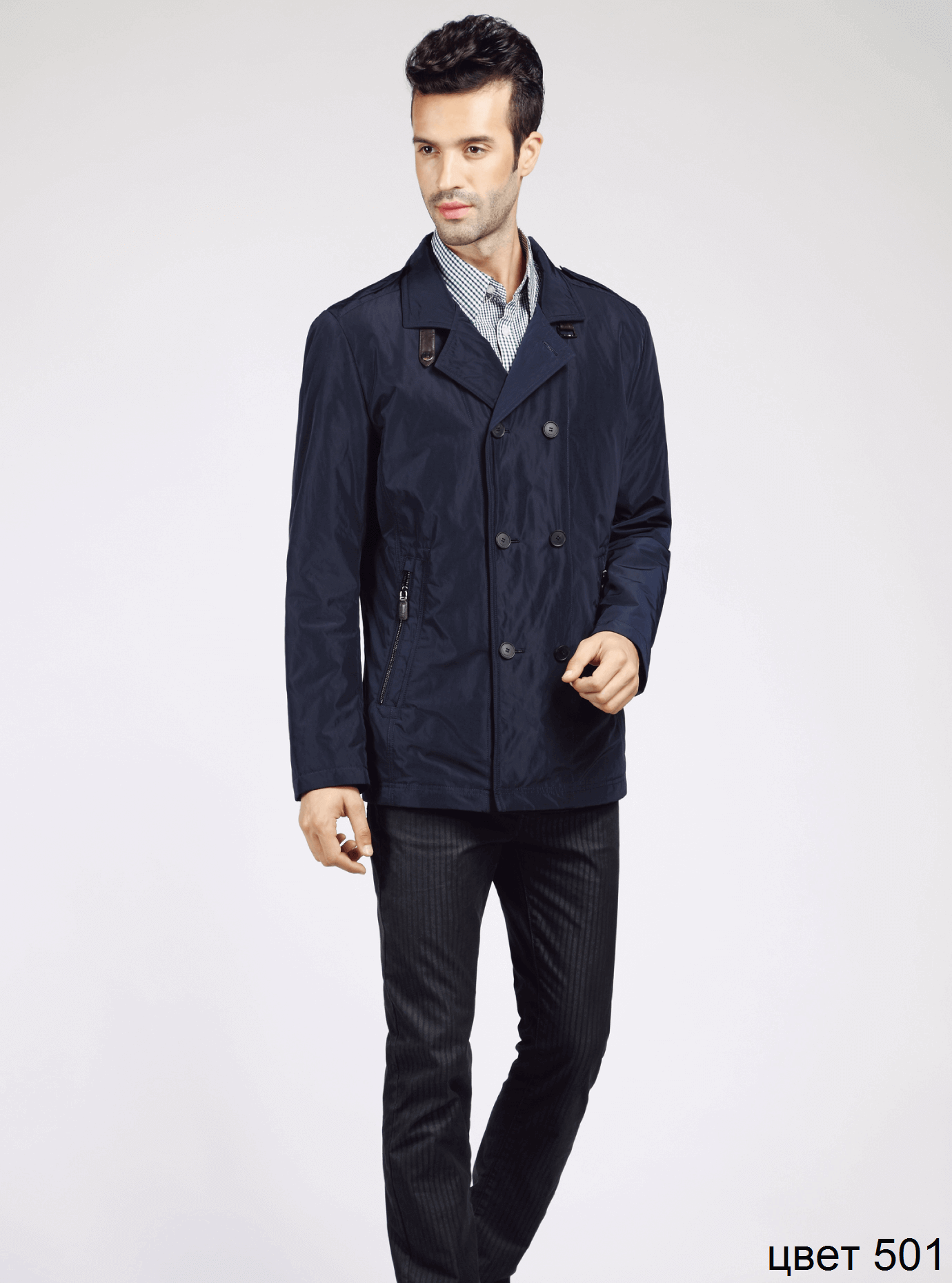 Куртка мужская демисезонная на пуговицах Синий 46 (02-MC18075): фото - Alster.ua