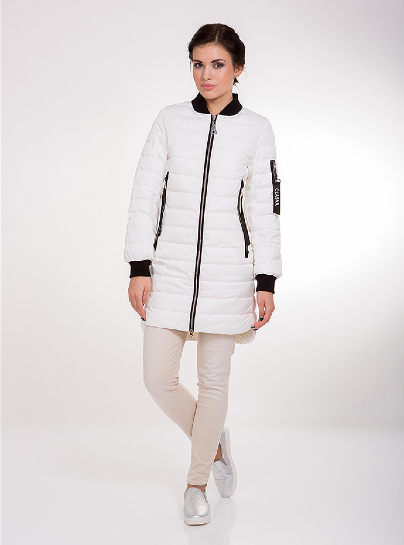 Куртка женская демисезонная с молниями Белый XS (02-CD18151): фото - Alster.ua