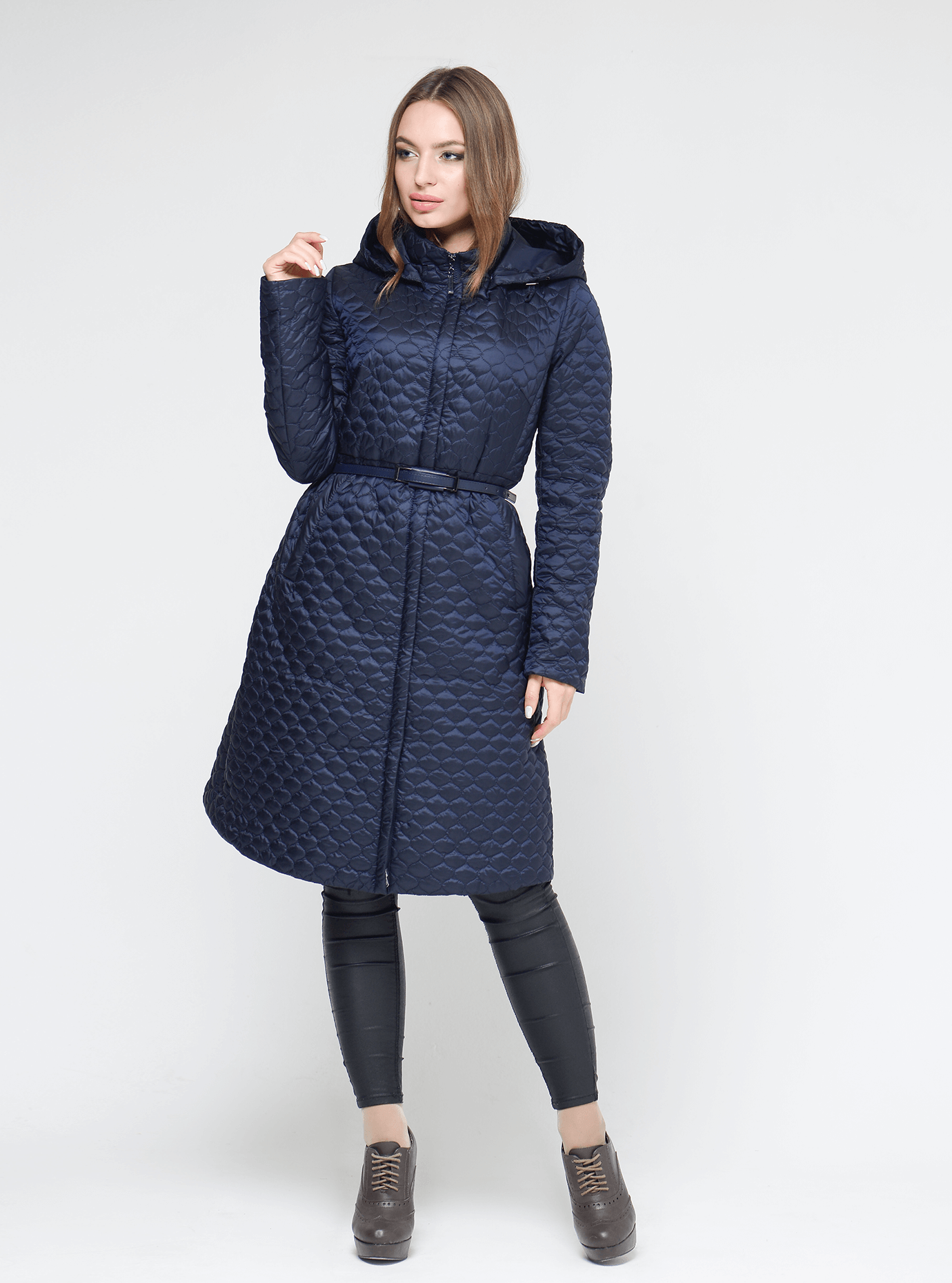 Куртка женская демисезонная ячеиская стёжка Тёмно-синий M (02-CD18032): фото - Alster.ua