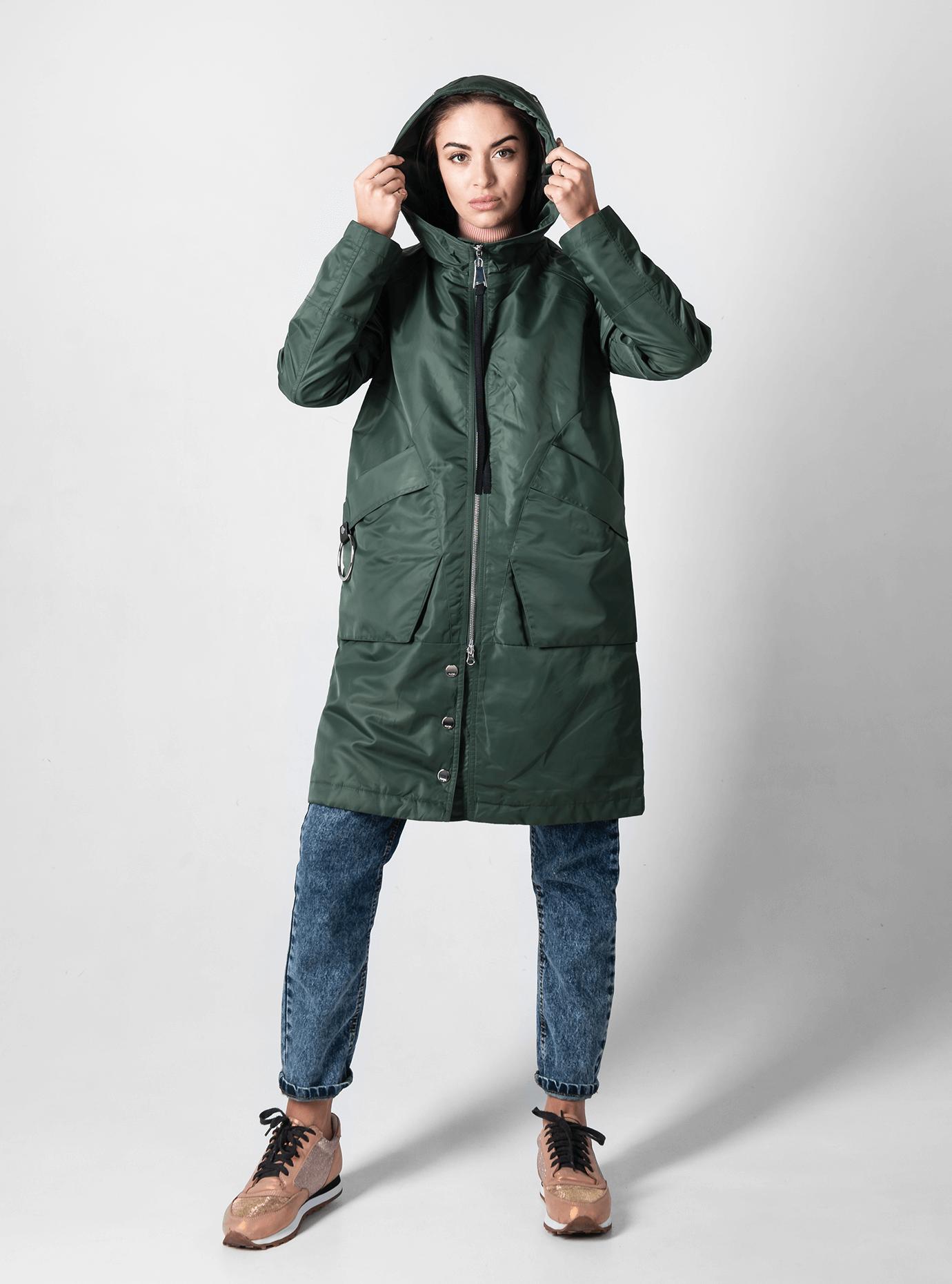 Куртка женская демисезонная с капюшоном Тёмно-зелёный L (02-D190178): фото - Alster.ua