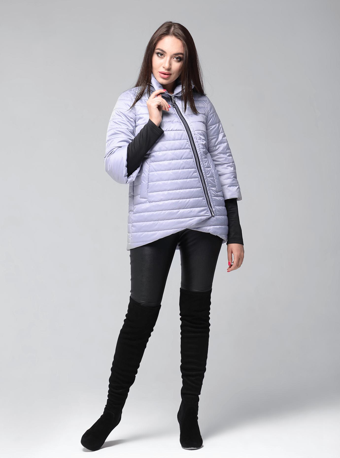 Женская зимняя куртка косой крой Синий 42 (02-KT190536): фото - Alster.ua