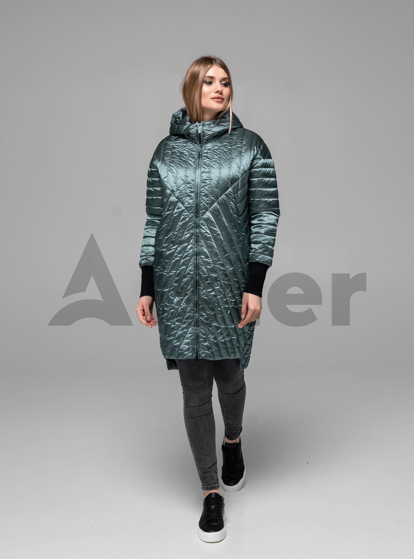 Куртка жіноча демісезонна подовжена Бірюзовий S (02-KT190025): фото - Alster.ua