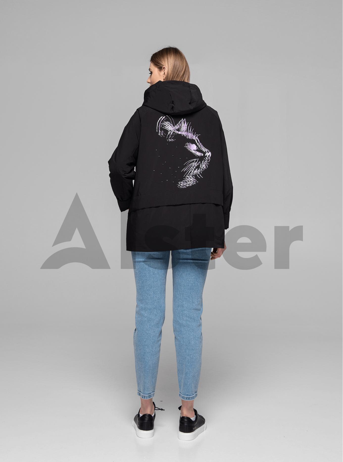Куртка демисезонная короткая с принтом на спине Чёрный 46 (02-MI19014): фото - Alster.ua