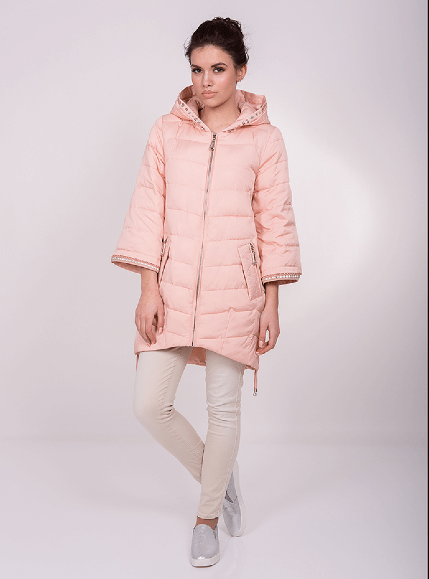 Куртка демисезонная с рукавами клёш Розовый S (05-ZL2595): фото - Alster.ua