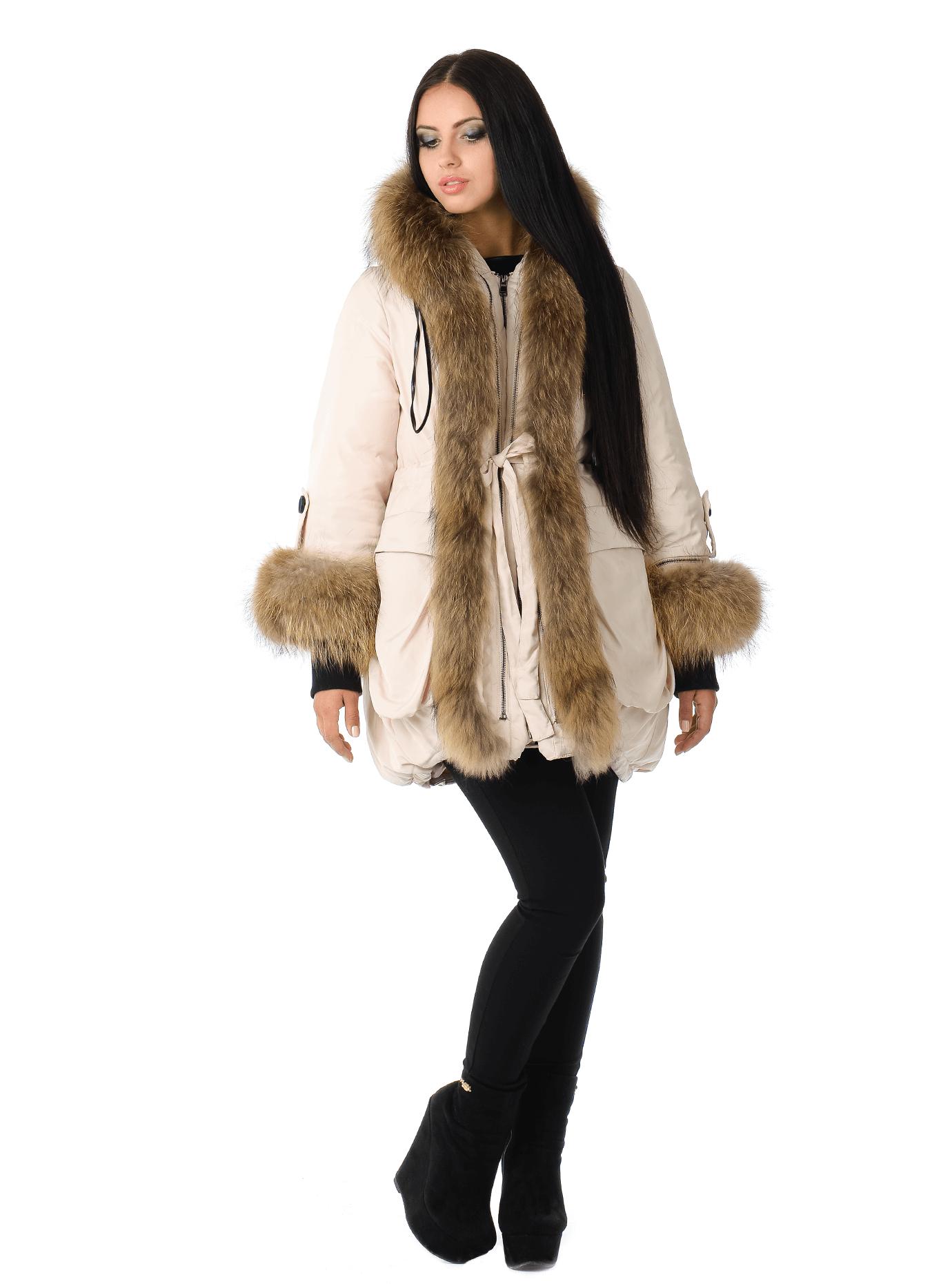 Женская зимняя куртка с мехом енота Чёрный S (05-ZZ19099): фото - Alster.ua