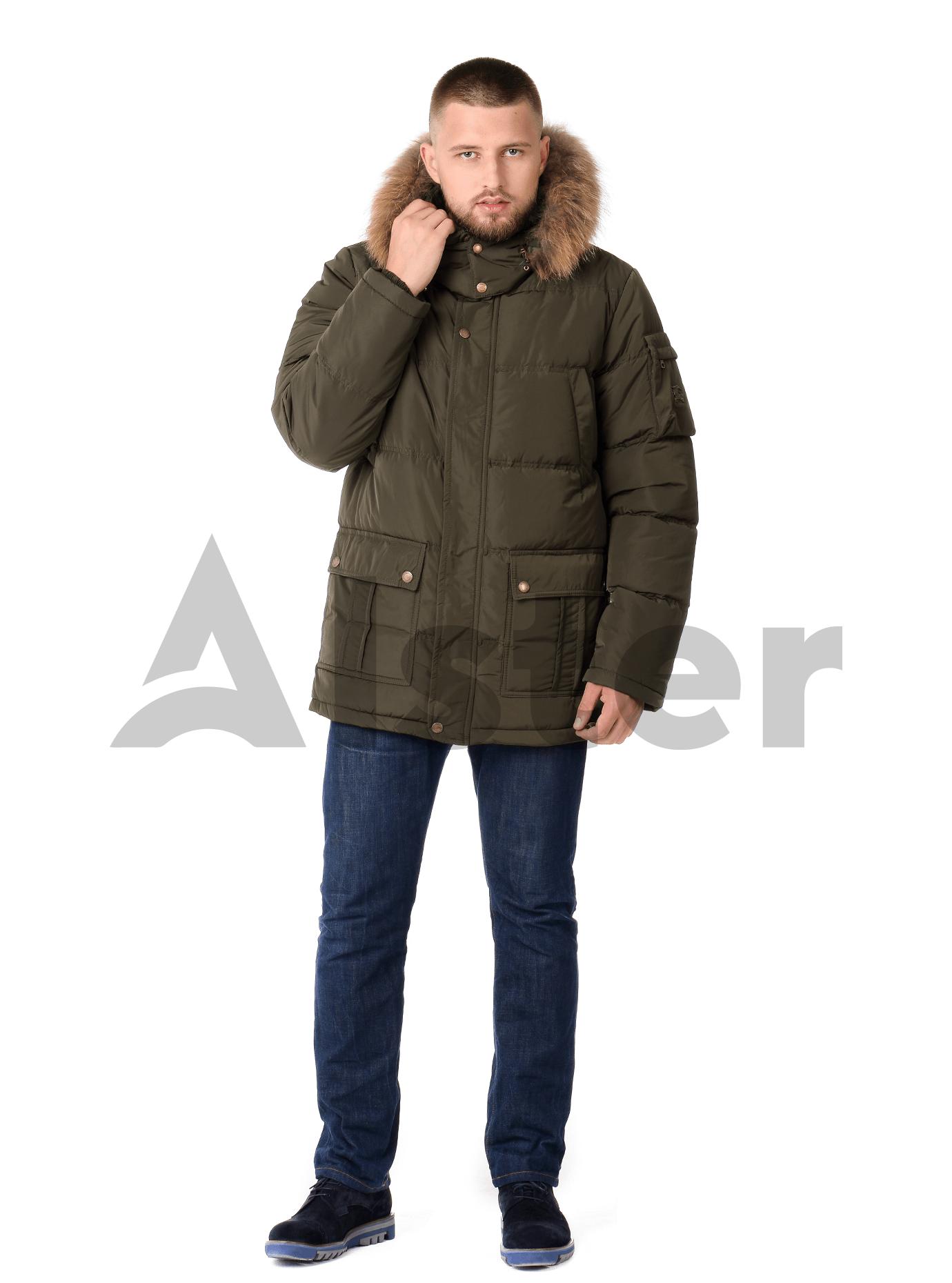 Куртка зимняя мужская мех енот Чёрный S (02-MR19074): фото - Alster.ua