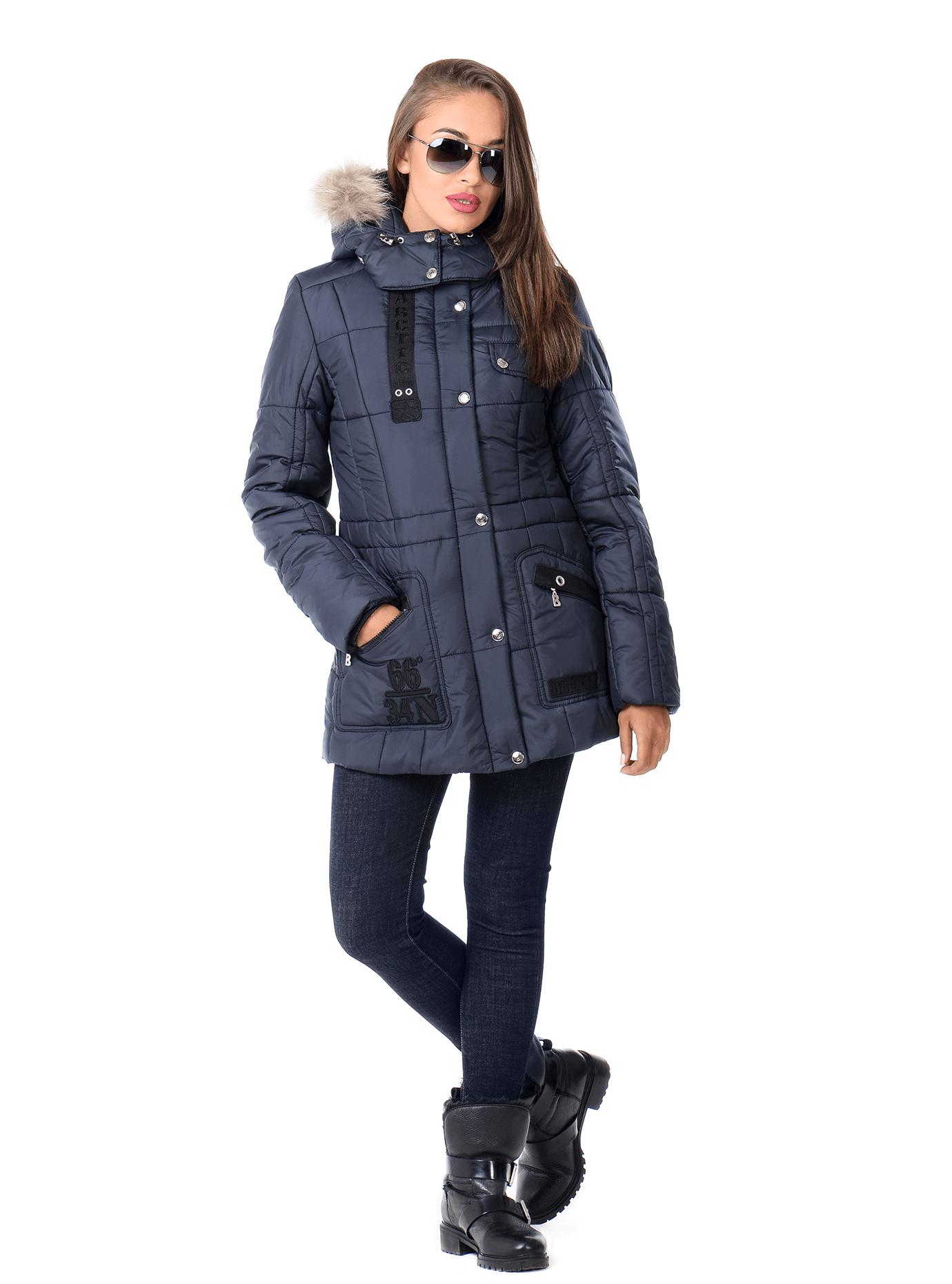 Куртка женская зимняя стильная Синий S (05-ZZ19131): фото - Alster.ua