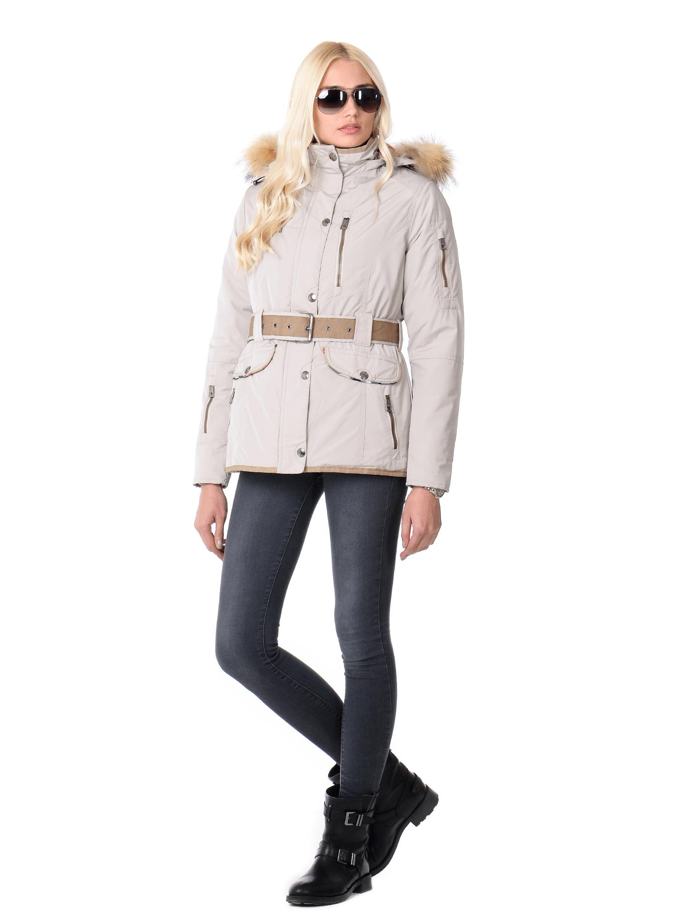 Куртка зимняя женская мех енот Молочный S (02-MR19092): фото - Alster.ua