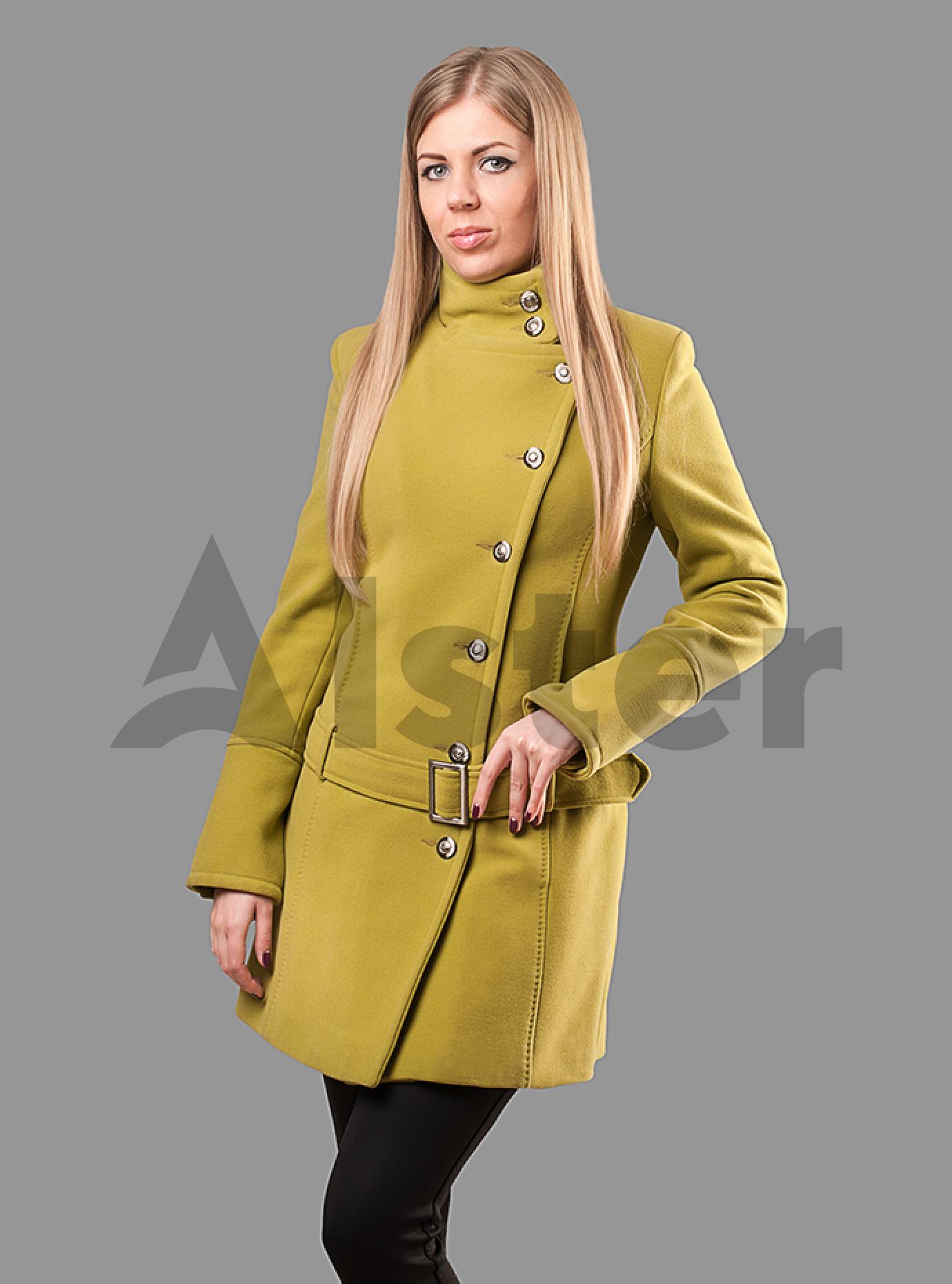 Пальто женское с поясом на пряжке Чёрный S (05-ZZ19100): фото - Alster.ua