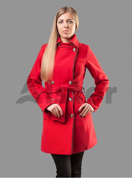 Пальто демисезонное двубортное с поясом