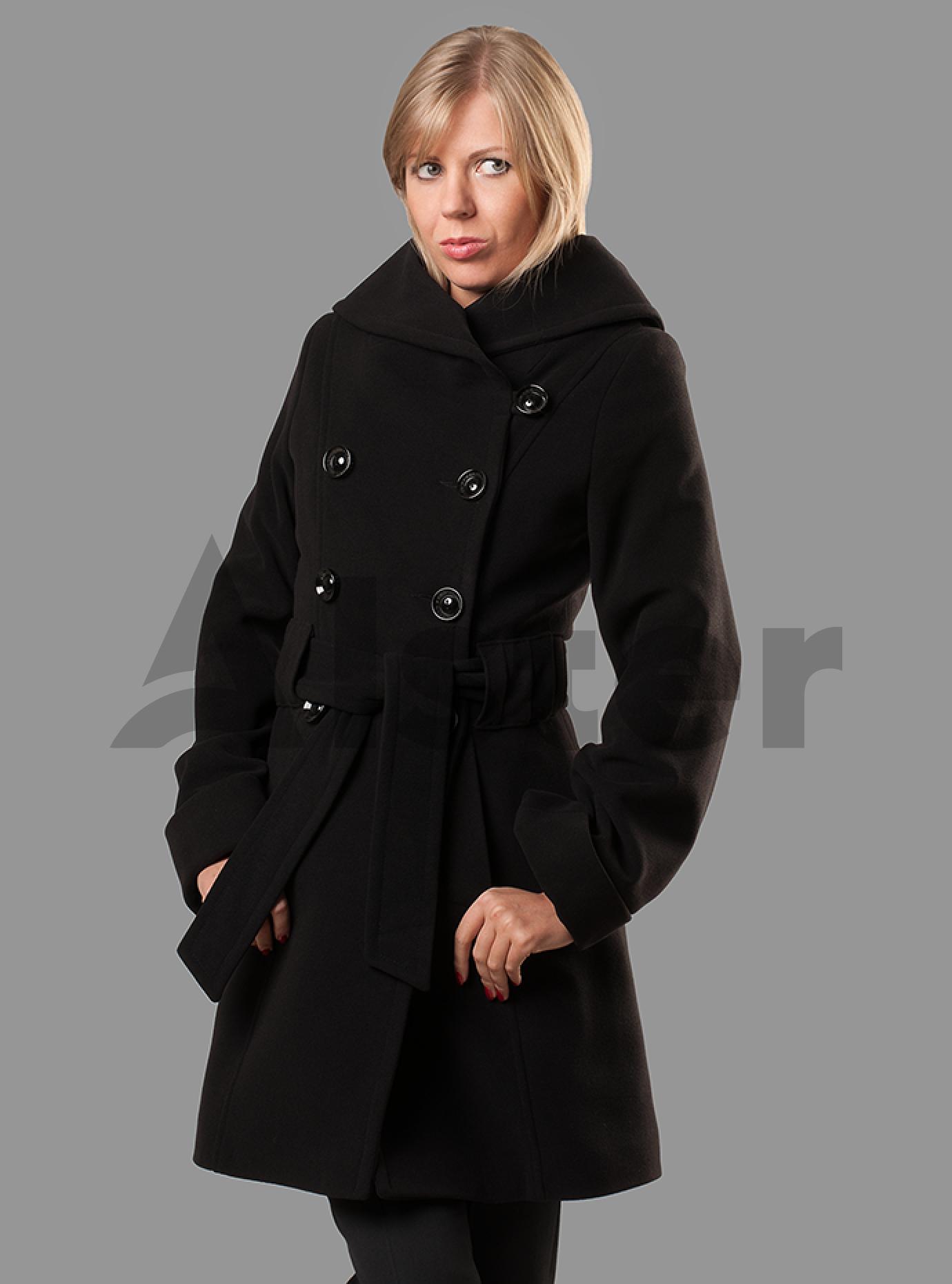 Пальто женское с поясом Чёрный S (05-ZZ19105): фото - Alster.ua