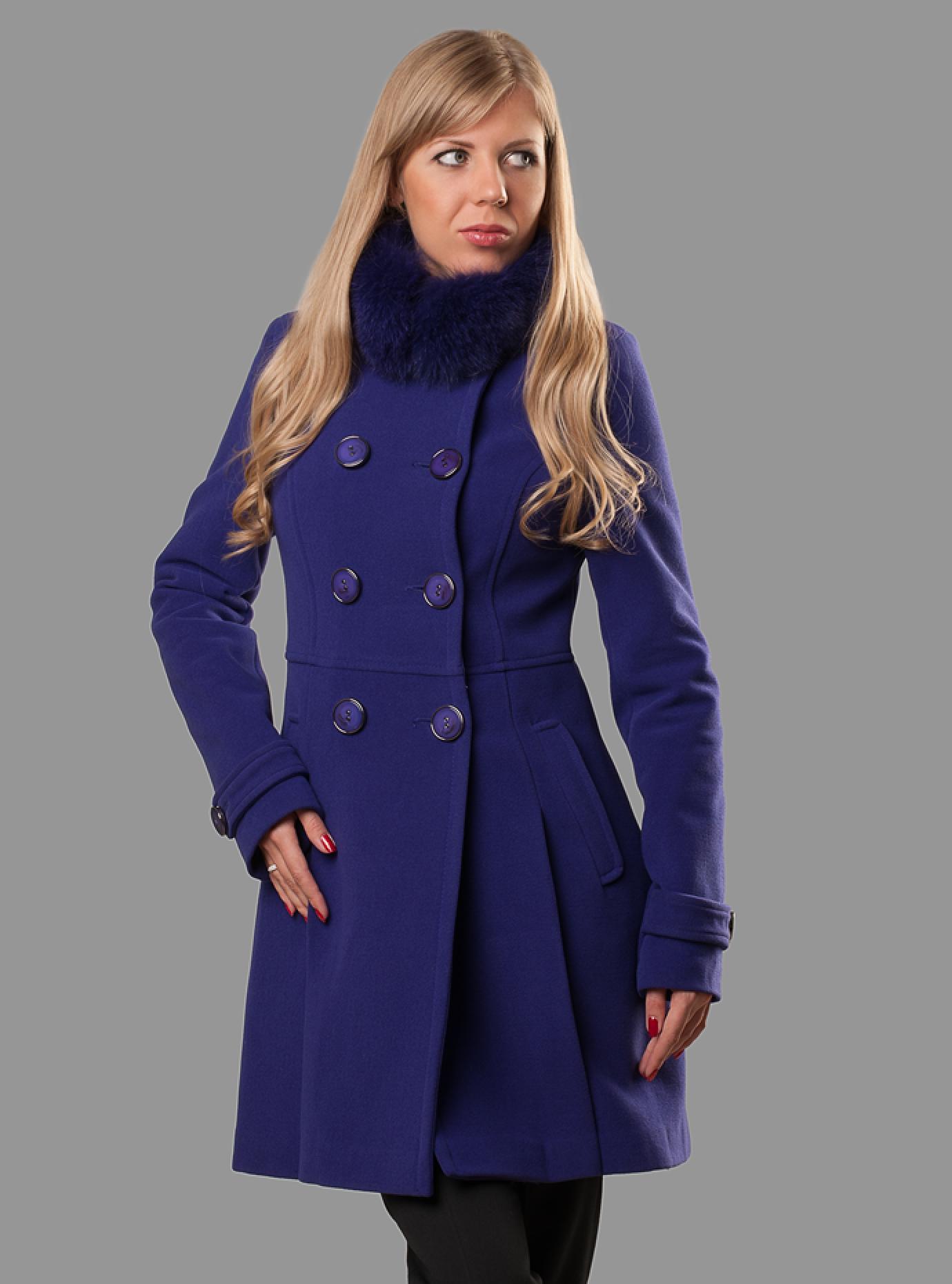 Пальто демисезонное с воротником из меха песца Синий S (07-P17048): фото - Alster.ua