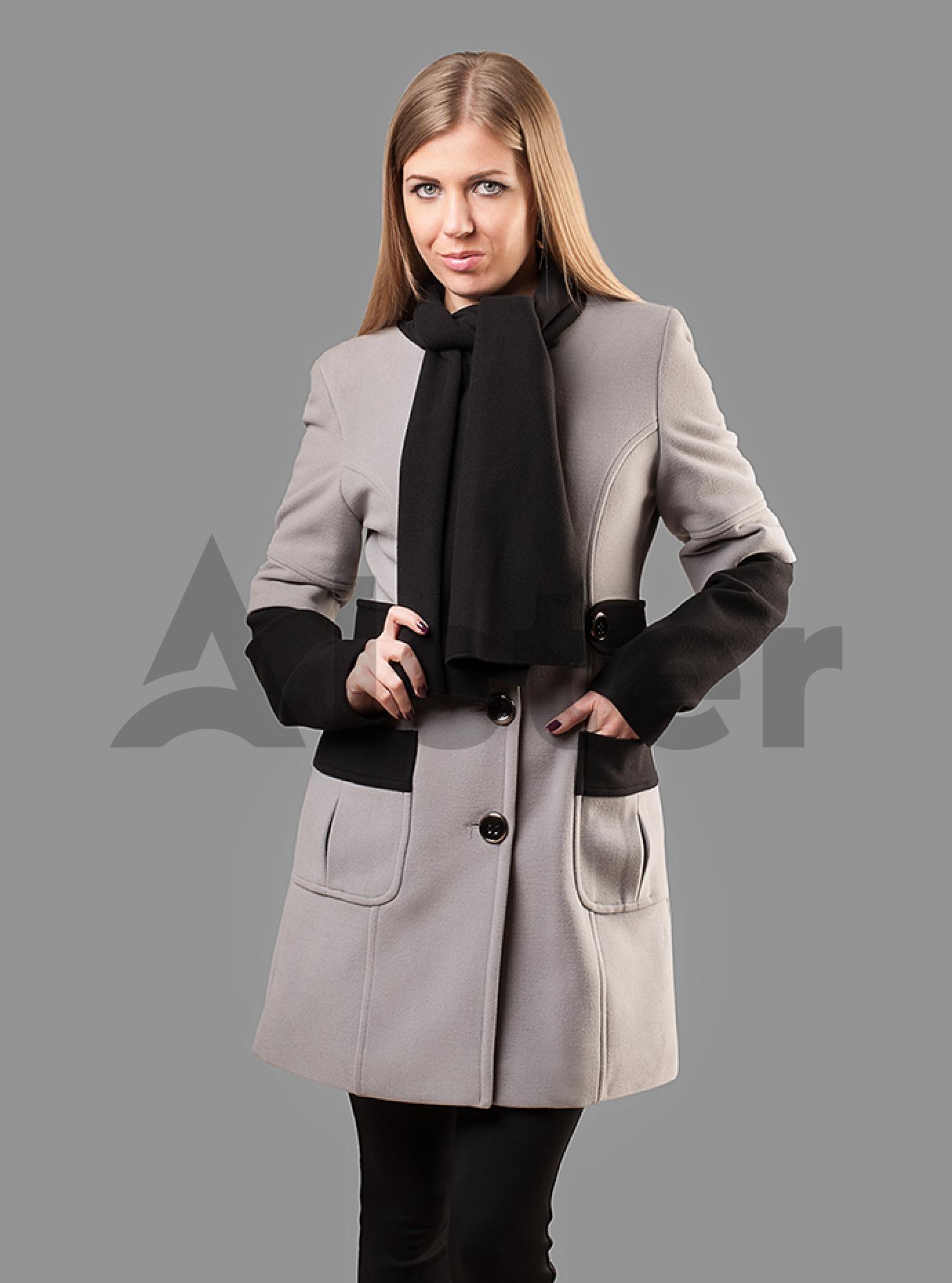 Пальто женское со вставками Чёрный S (05-ZZ19114): фото - Alster.ua