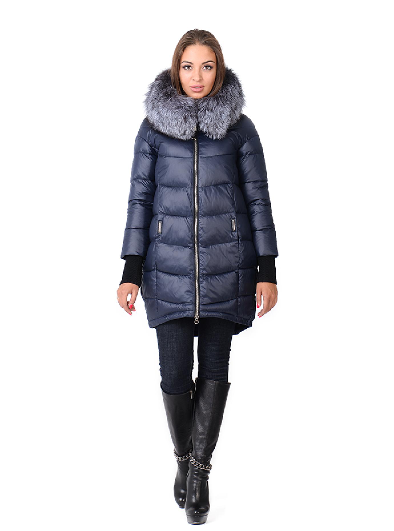Зимняя куртка женская с манжетами Тёмно-синий S (05-CH19045): фото - Alster.ua