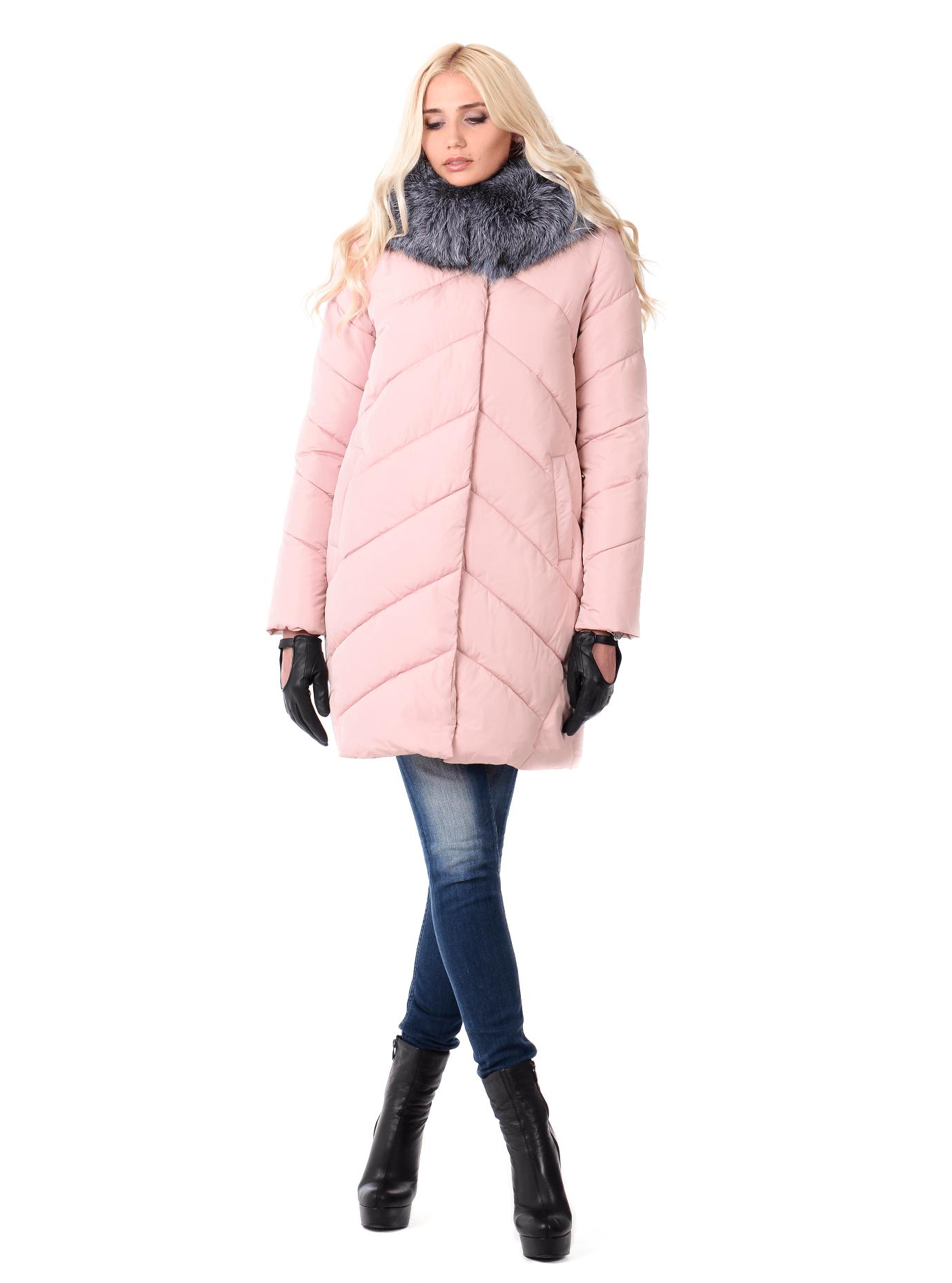 Зимняя куртка женская с мехом чернобурки Пудра XL (05-CH19057): фото - Alster.ua