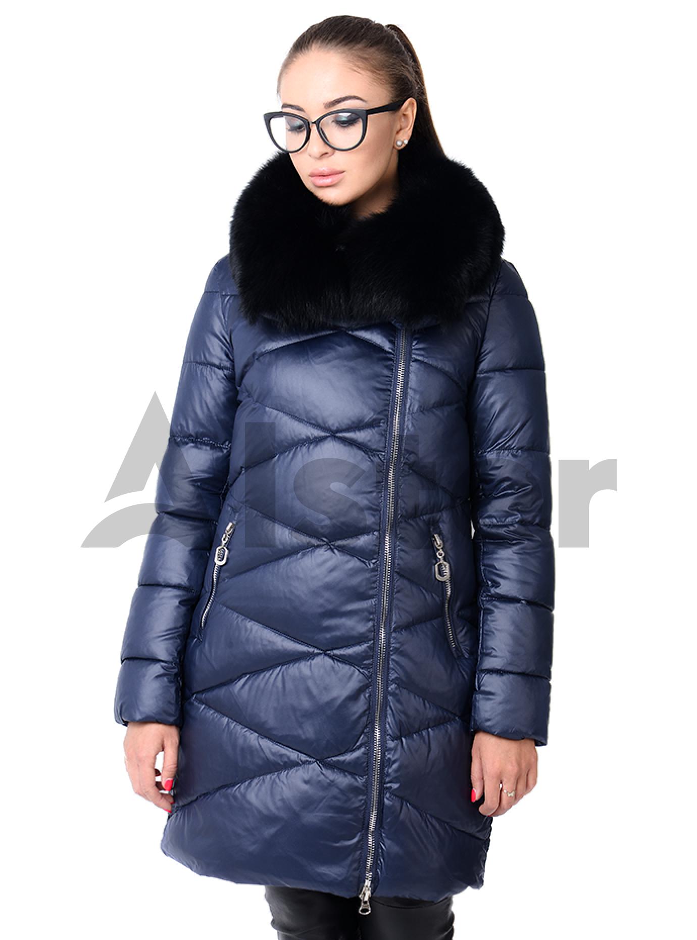 Зимняя куртка женская с мехом песца Тёмно-синий S (05-CH19059): фото - Alster.ua