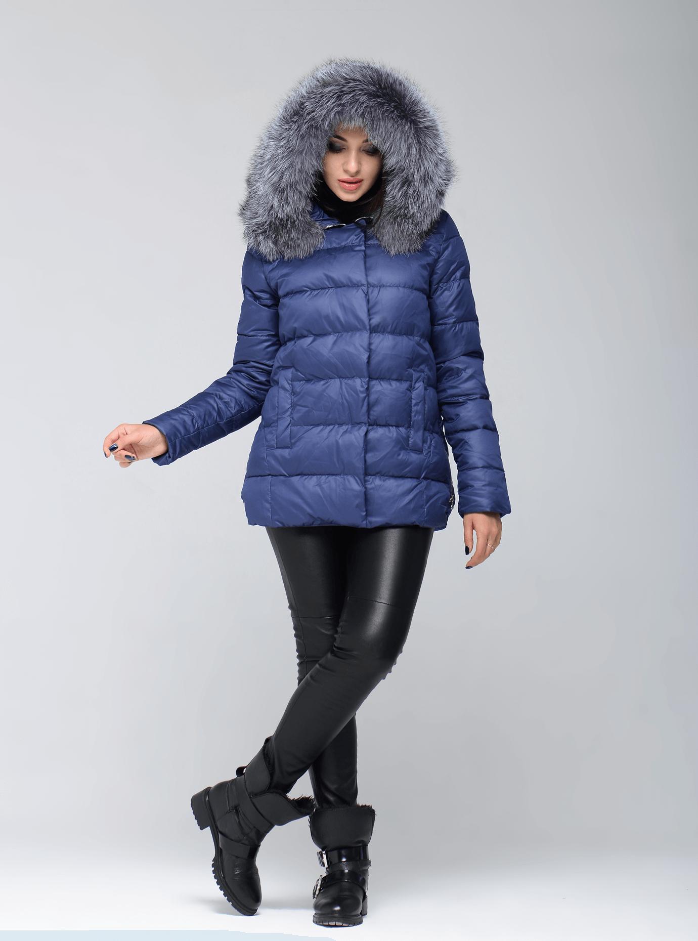Зимняя куртка женская на молнии Синий L (05-CH19107): фото - Alster.ua