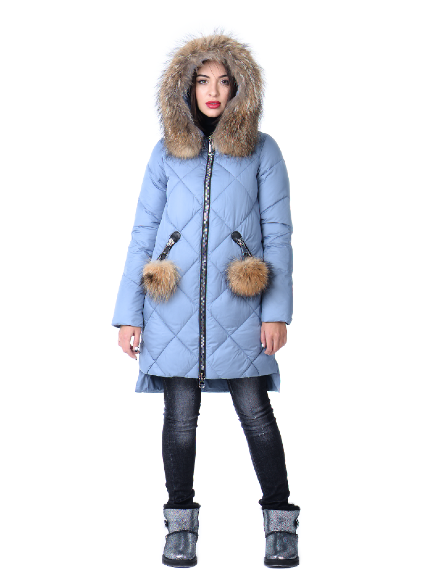 Зимняя куртка женская с мехом енота Голубой L (05-CH19067): фото - Alster.ua